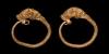 Gold Bulls Head Earring Pair