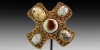 Gold Horse Harness Mount with Gemstones