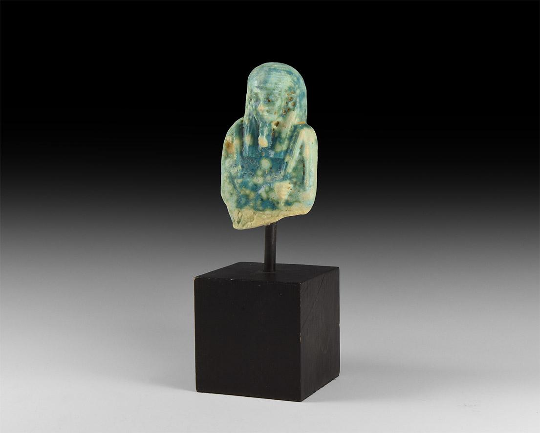 Egyptian Large Blue Glazed Shabti Fragment