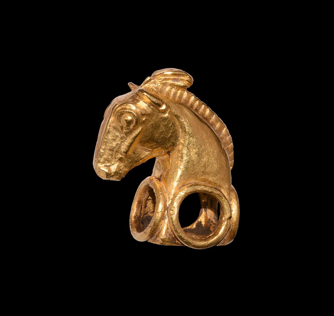 Western Asiatic Achaemenid Gold Horse Head Finial