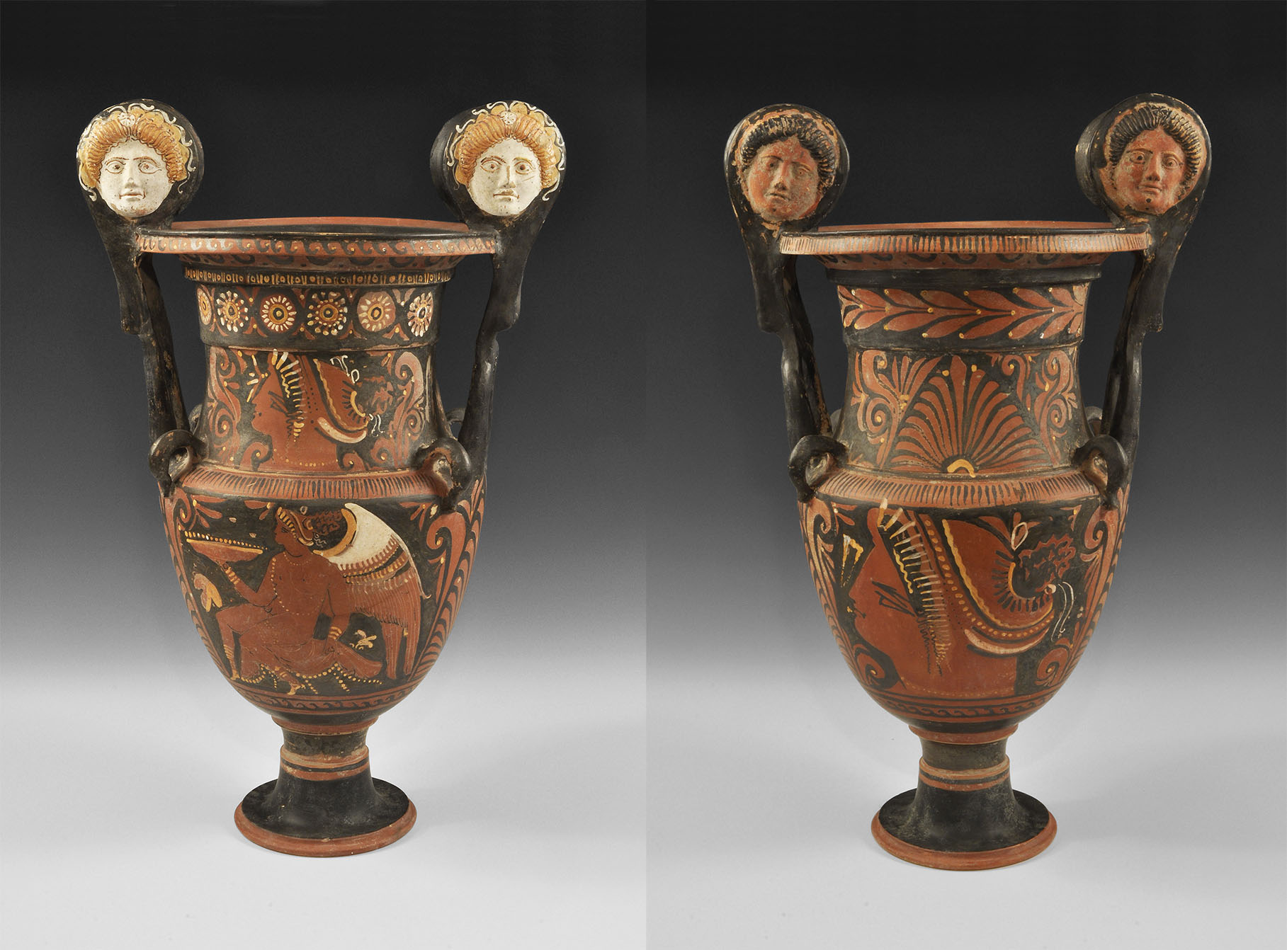 Greek Red-Figure Volute Krater with Medusa Heads and Ladies of Fashion