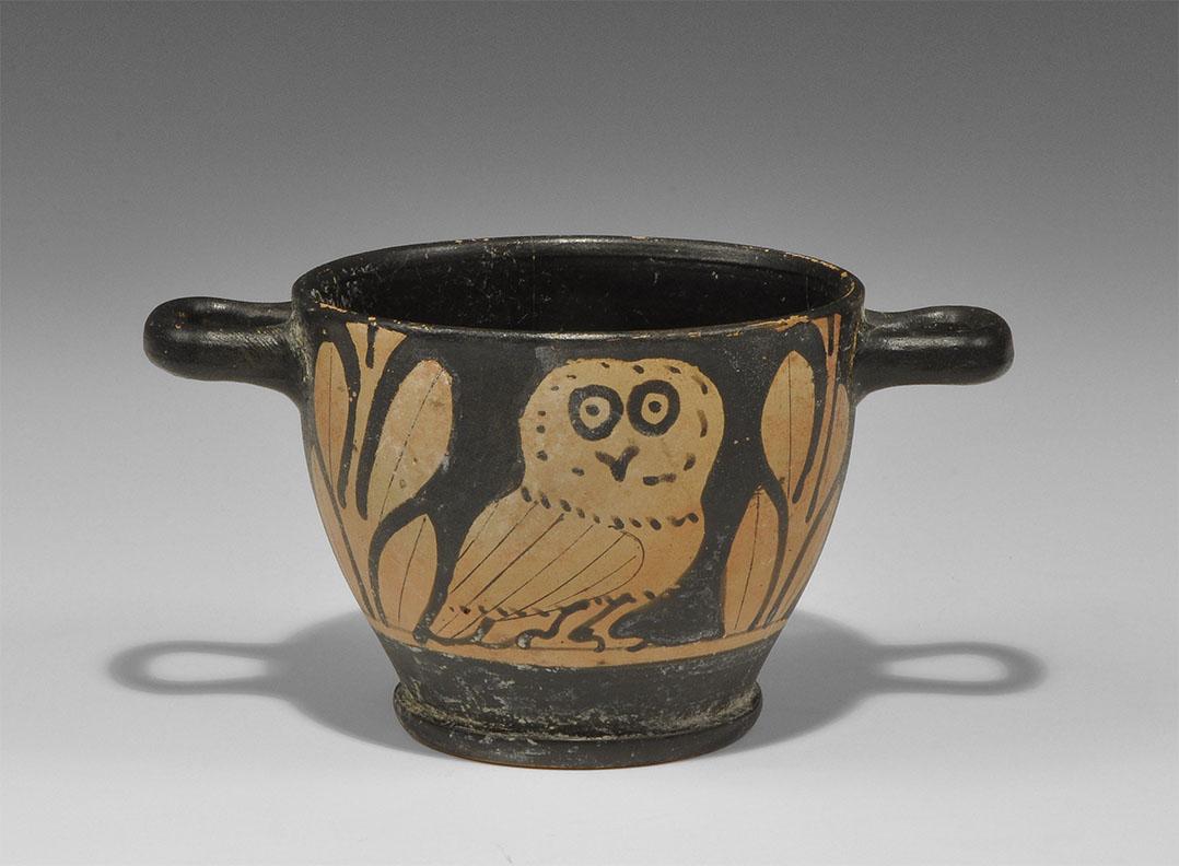Greek Red-Figure Owl Skyphos