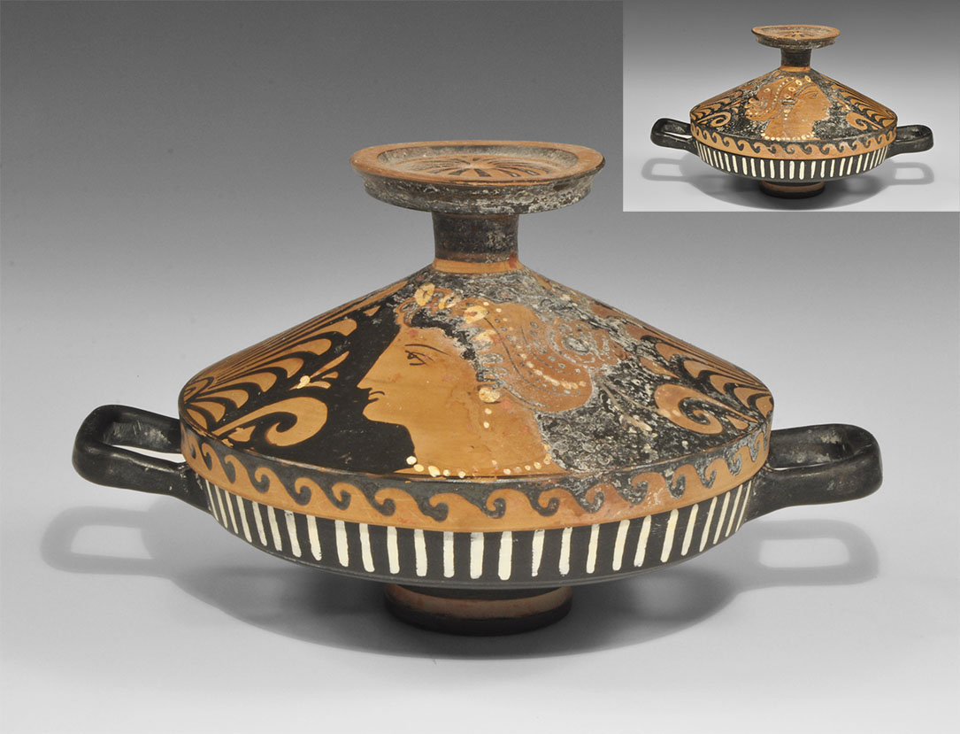 Greek Red-Figure Lekanis with Ladies of Fashion