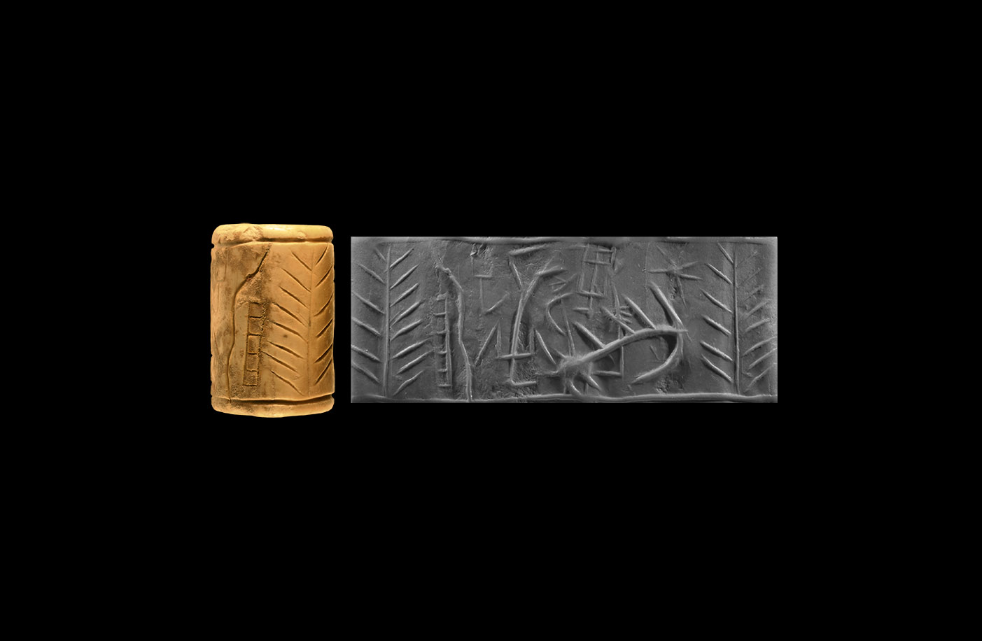 Western Asiatic Cylinder Seal with Linear Designs