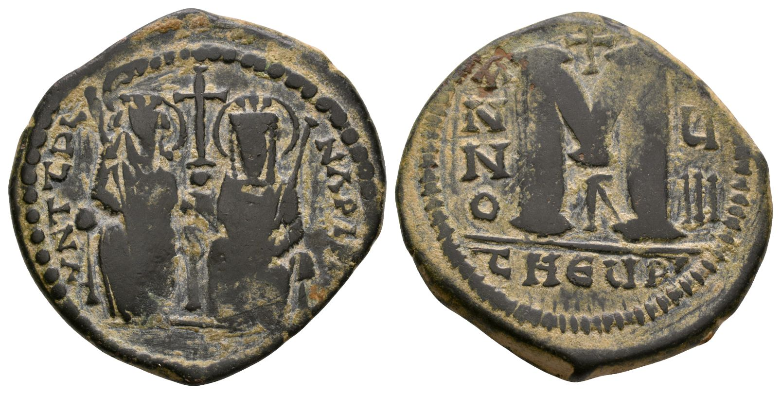Ancient Byzantine Coins - Justin II and Sophia - Large M Follis