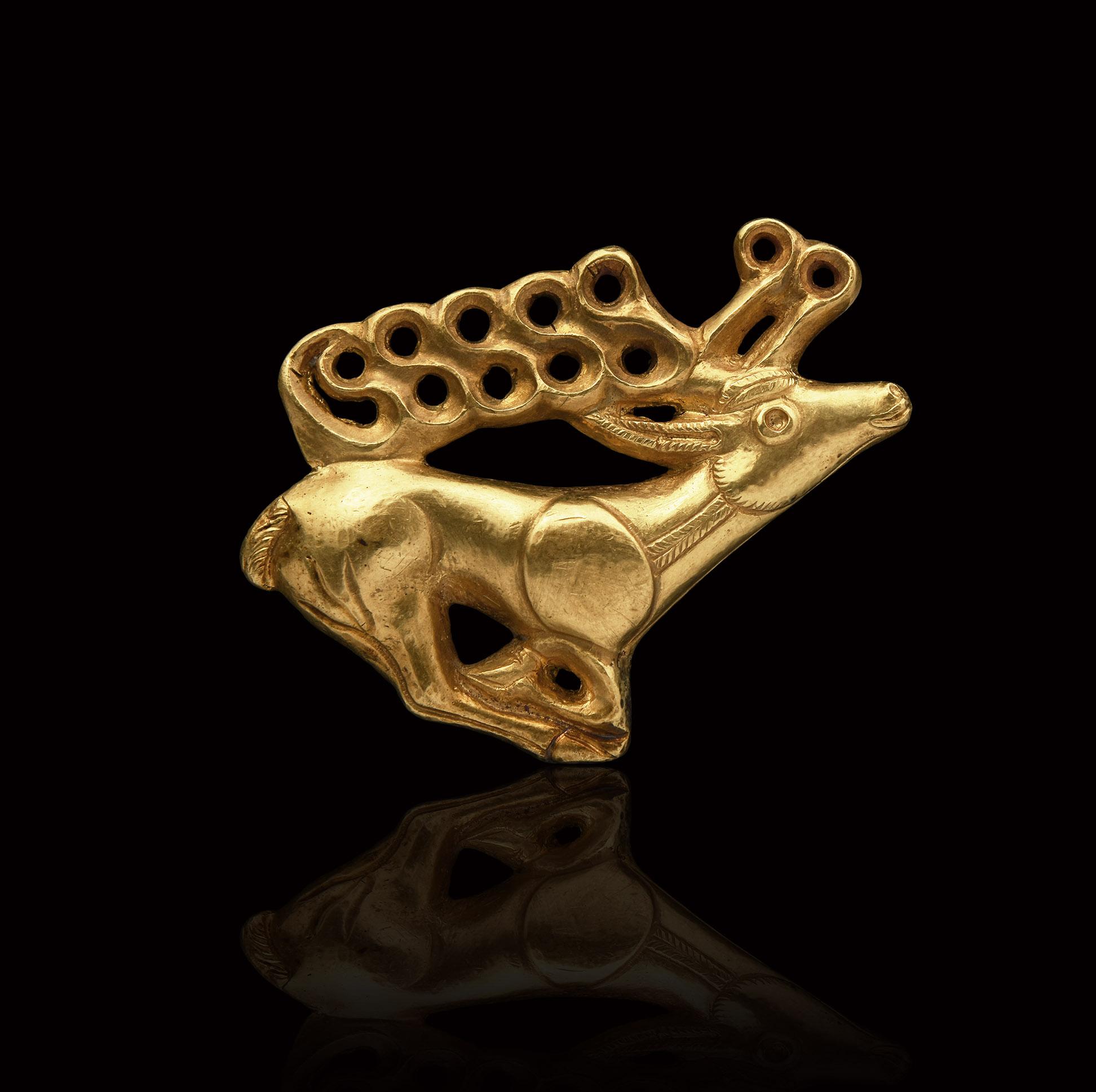Scythian Gold Stag Shield Ornament