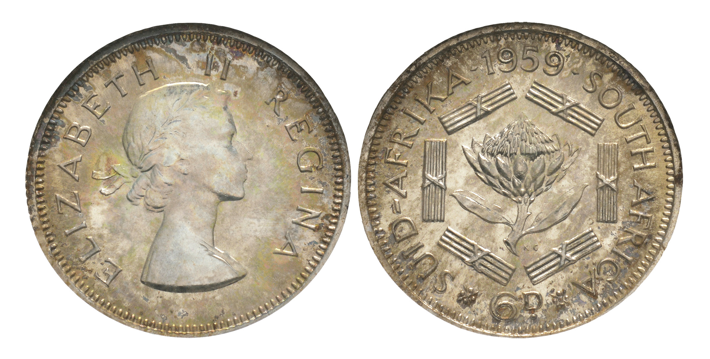 World Coins - South Africa - Elizabeth II - 1959 - Proof Sixpence