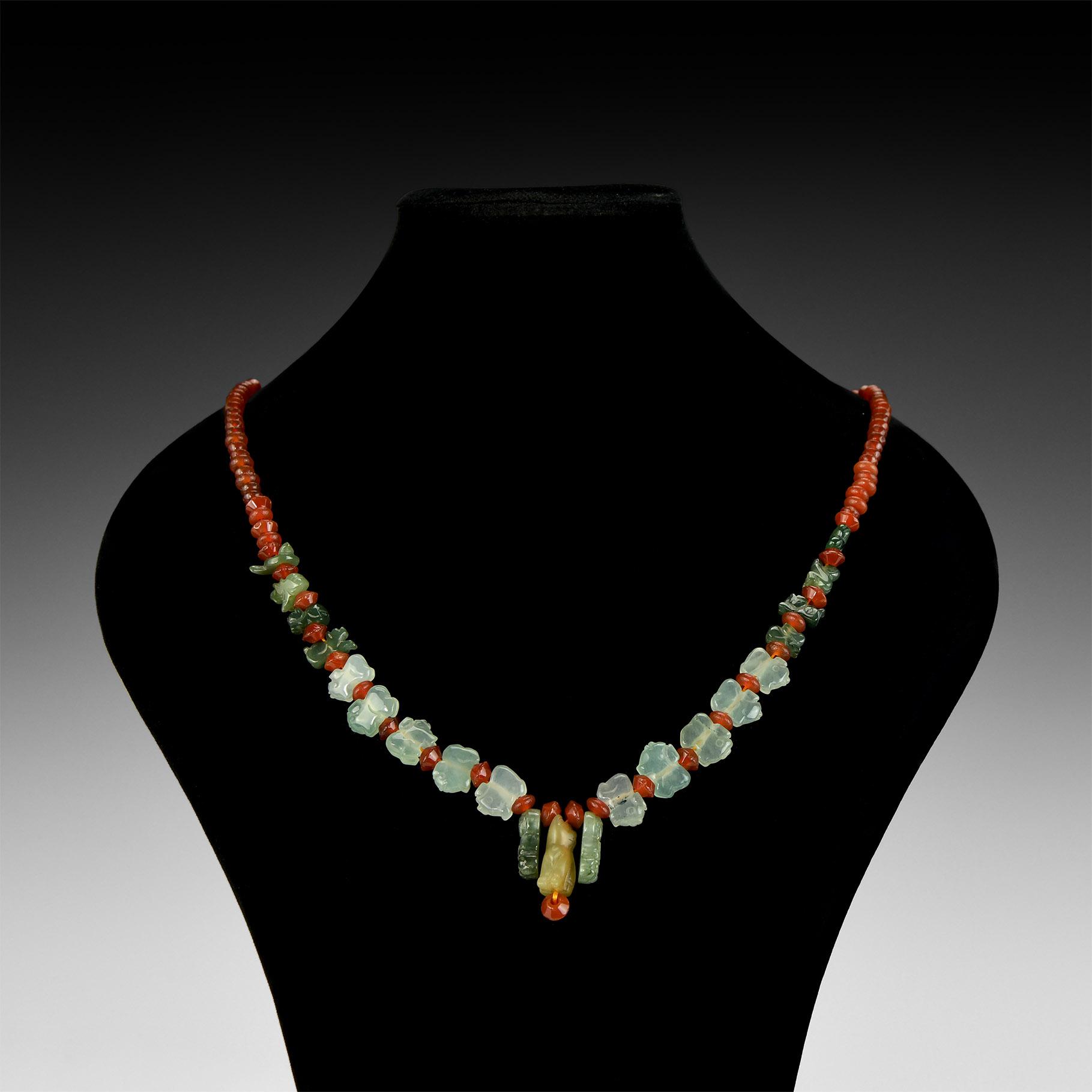 Chinese Jade Amulet Bead Necklace