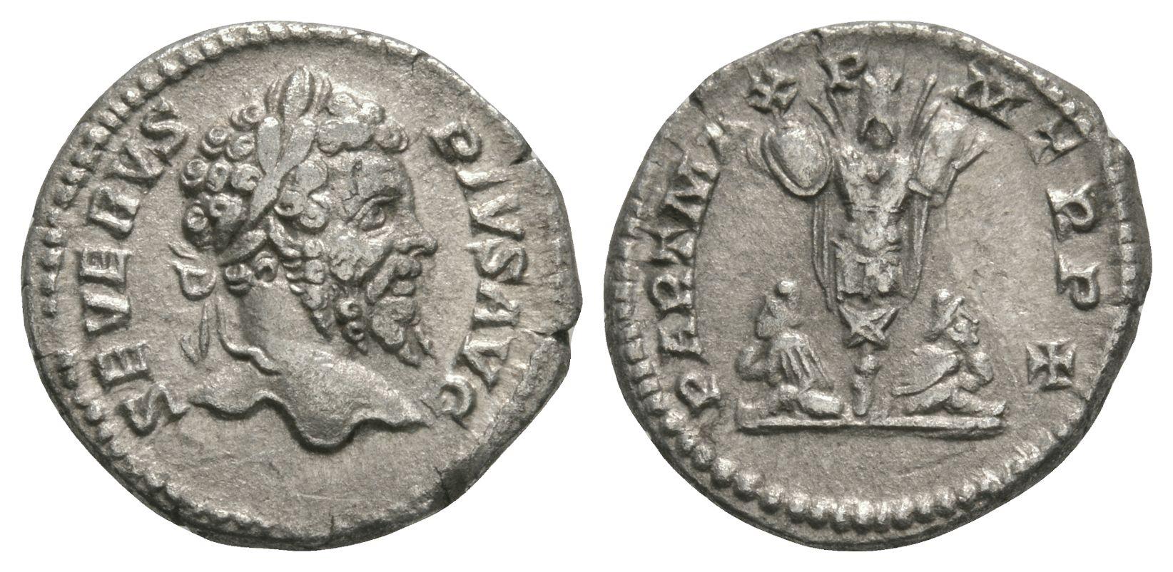 Ancient Roman Imperial Coins - Septimius Severus - Captives and Trophy Denarius