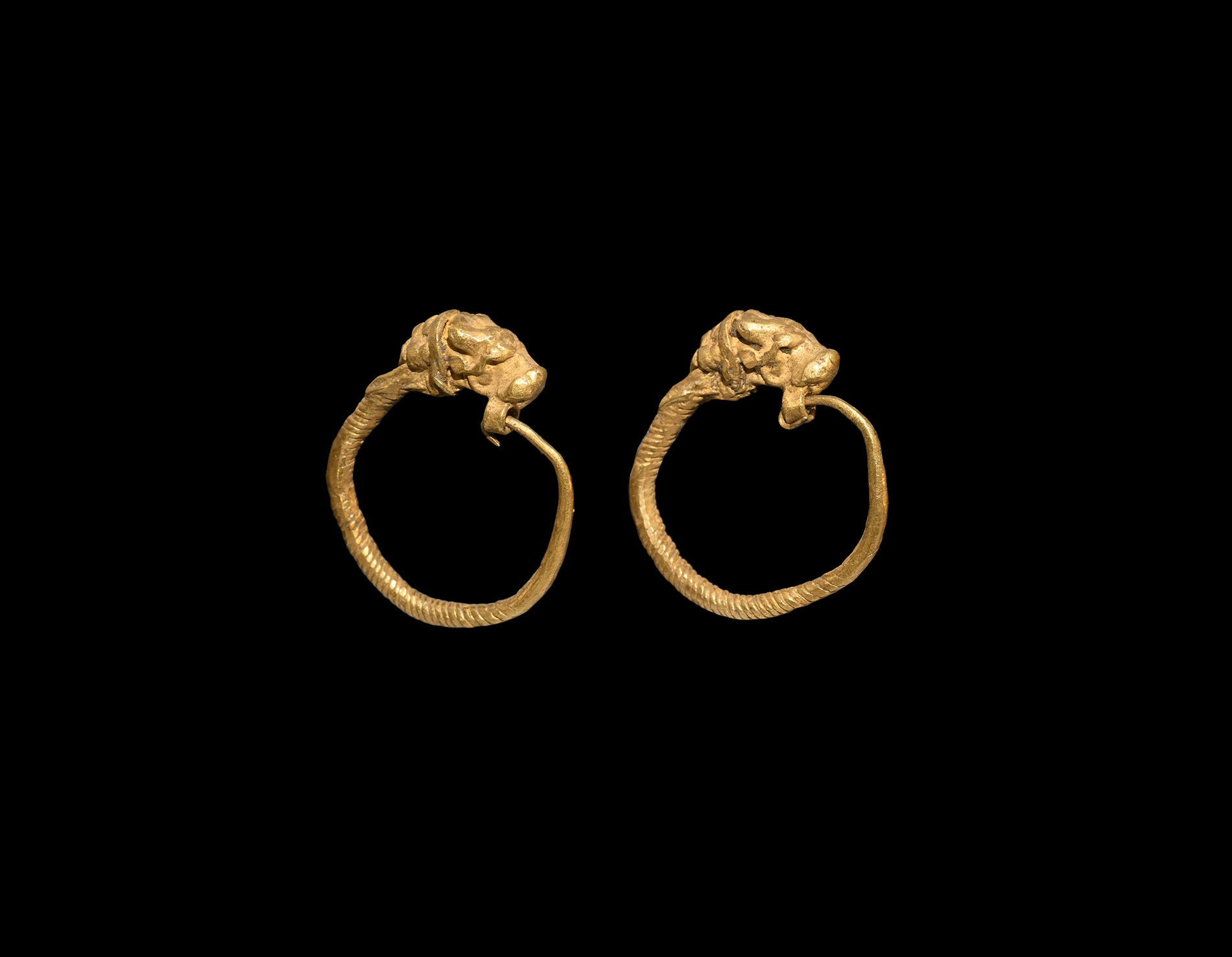 Greek Gold Lion-Headed Earrings
