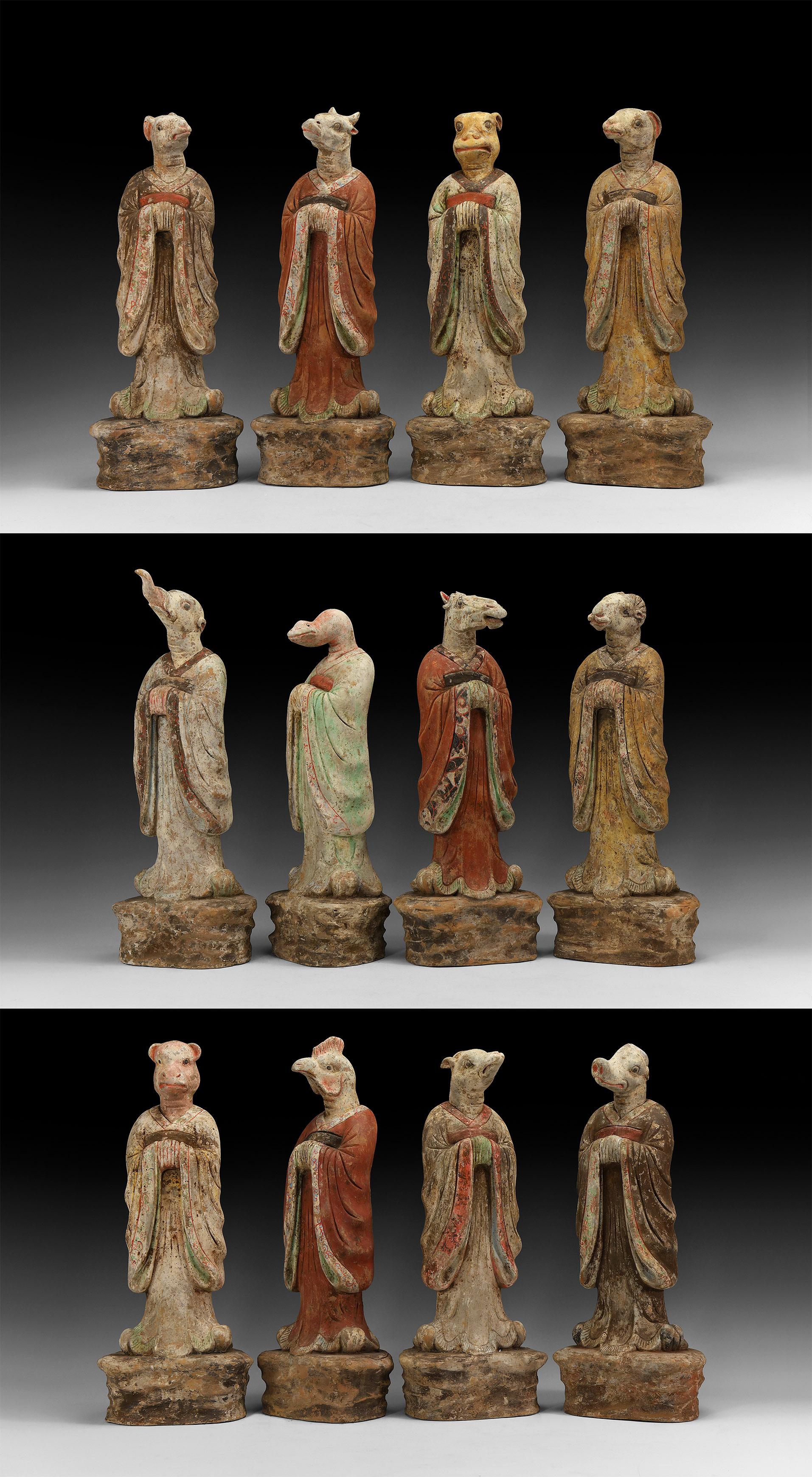 Large Chinese Tang Zodiac Animal Figure Set
