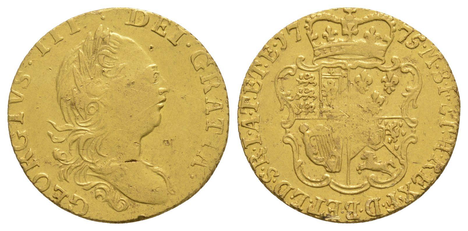 English Milled Coins - George III - 1775 - Half Guinea
