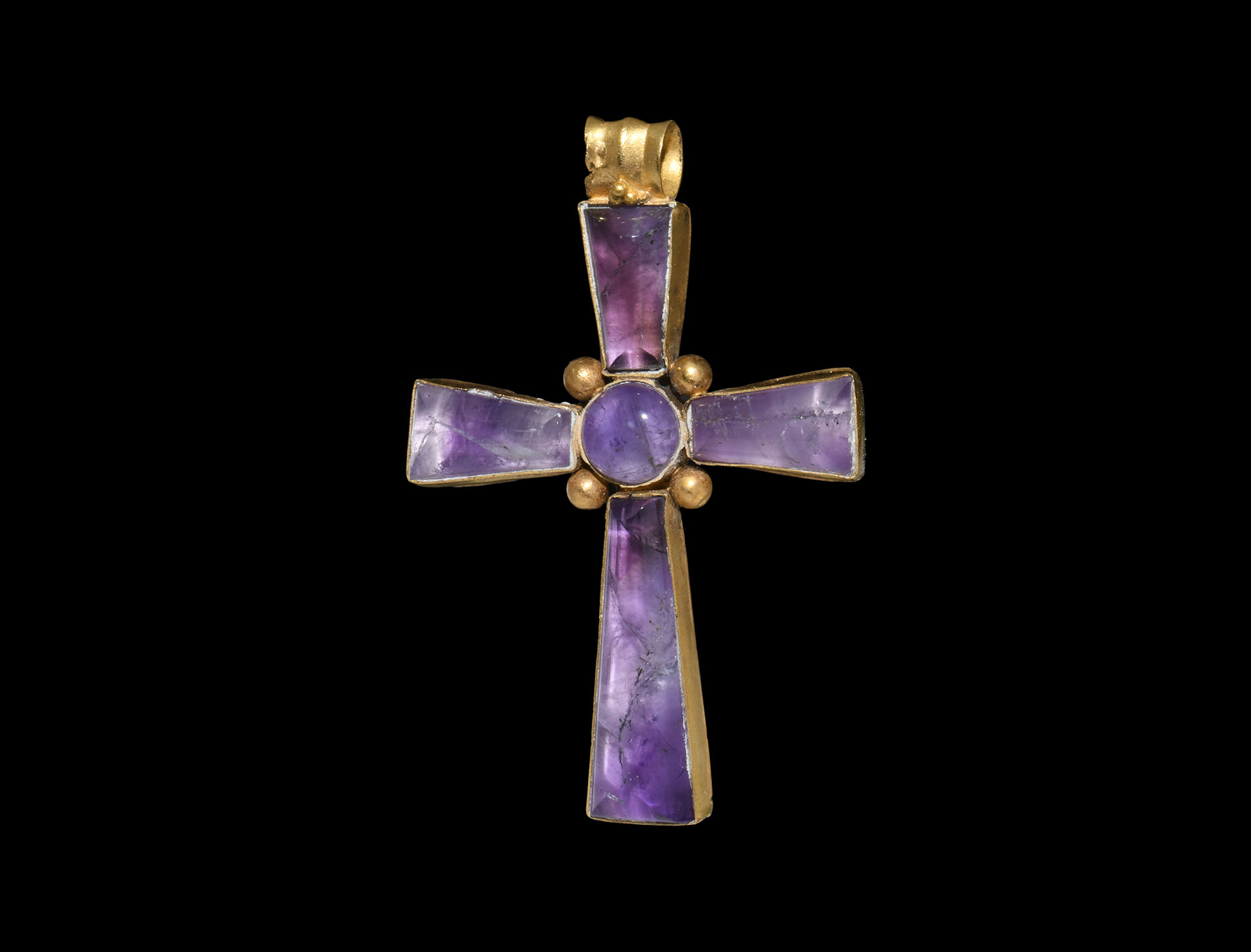 Post Medieval Gold and Amethyst Cross Pendant