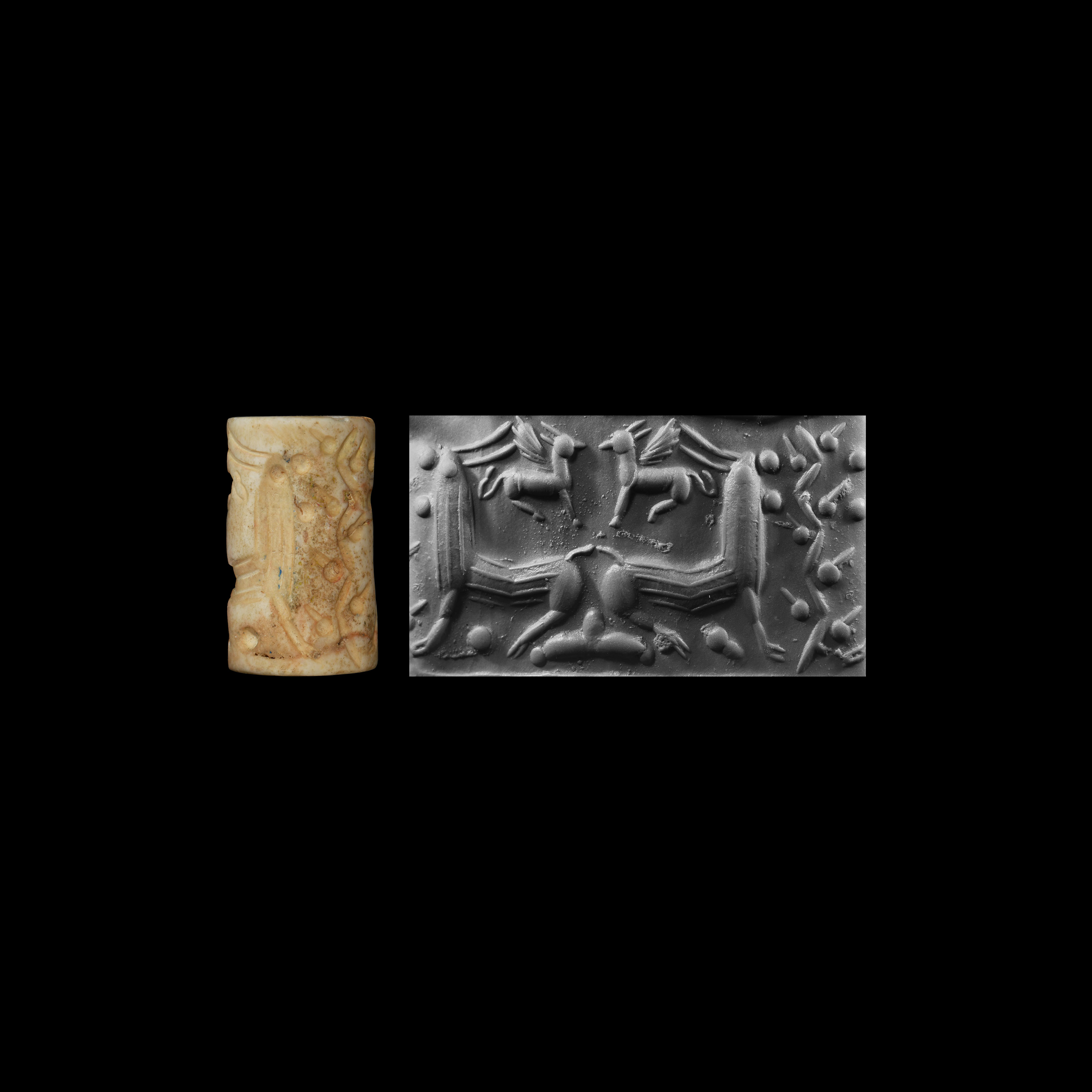 Western Asiatic Cylinder Seal with Quadrupeds