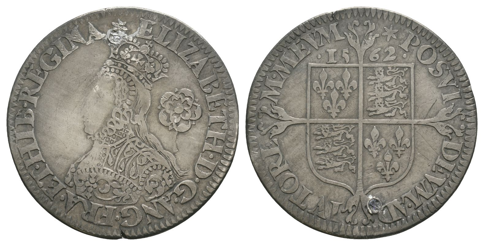 English Tudor Coins - Elizabeth I - 1562 - Milled Sixpence