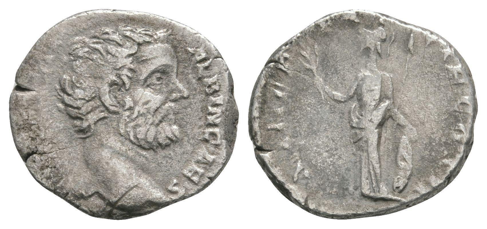 Ancient Roman Imperial Coins - Clodius Albinus (under Septimius Severus) - Minerva Denarius