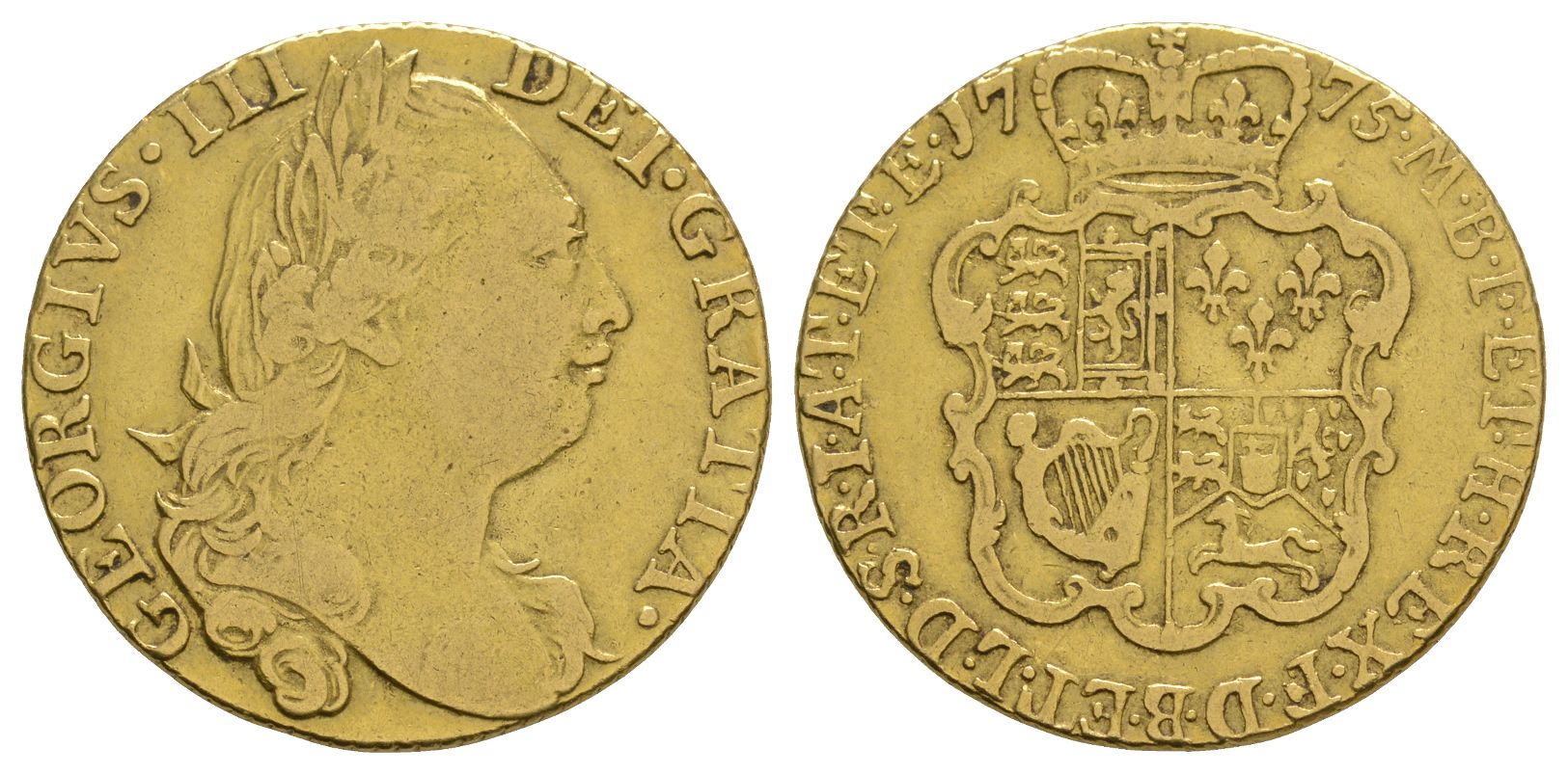 English Milled Coins - George III - 1775 - Gold Guinea