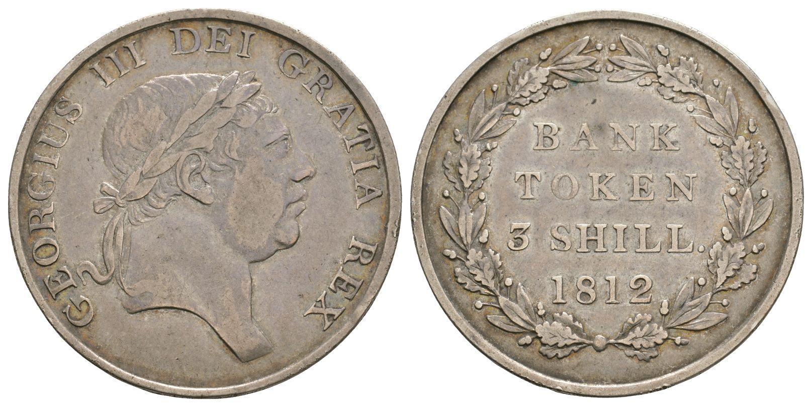 British Tokens - George III - 1812 - 3 Shilling Bank Token