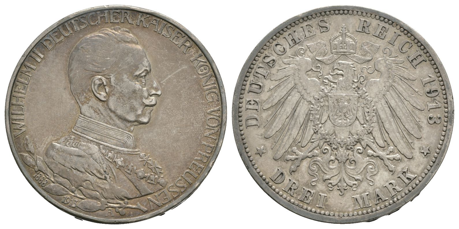 World Coins - German States - Prussia - 1913 - Anniversary 3 Marks