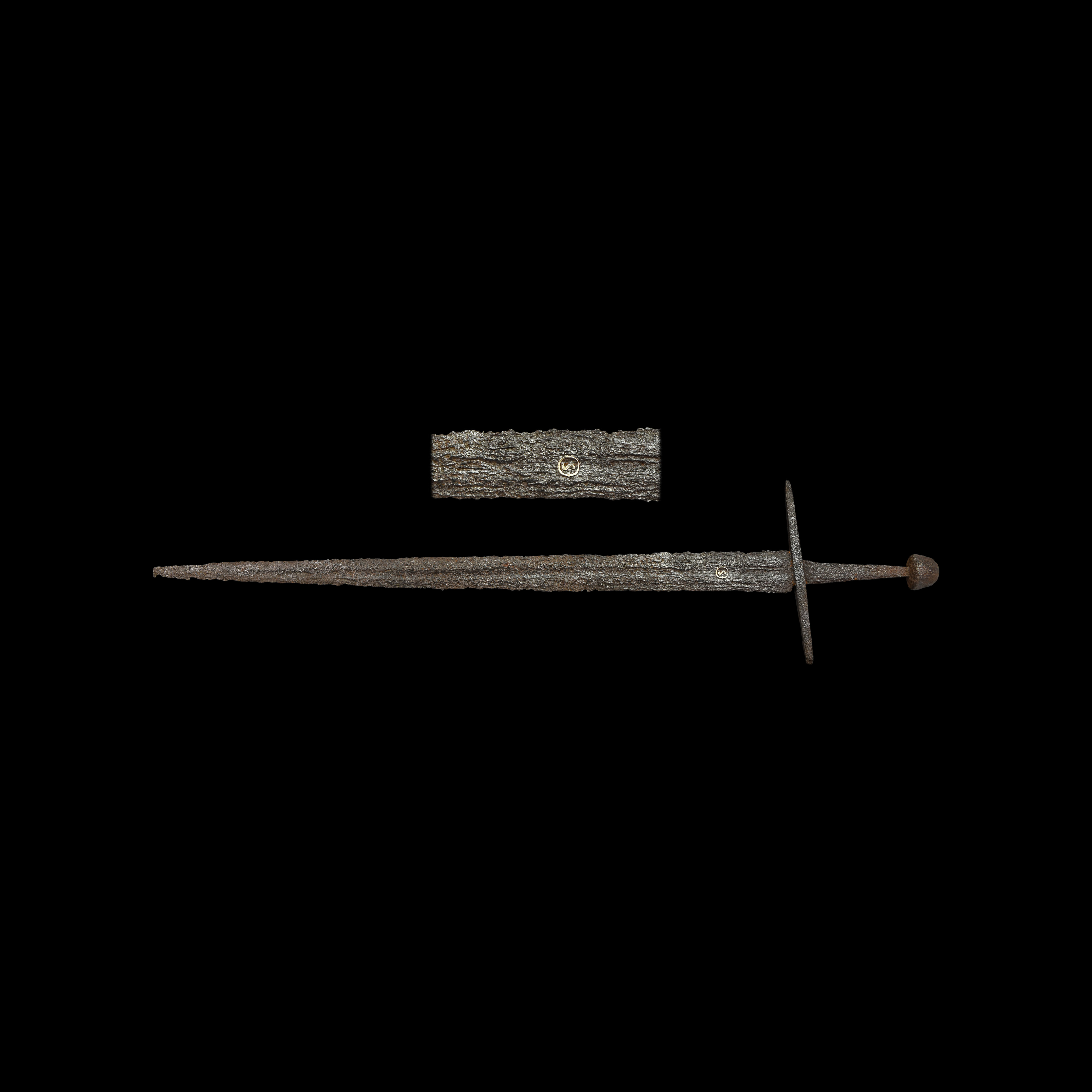 Medieval Single-Handed Double-Edged Sword with Inlaid S