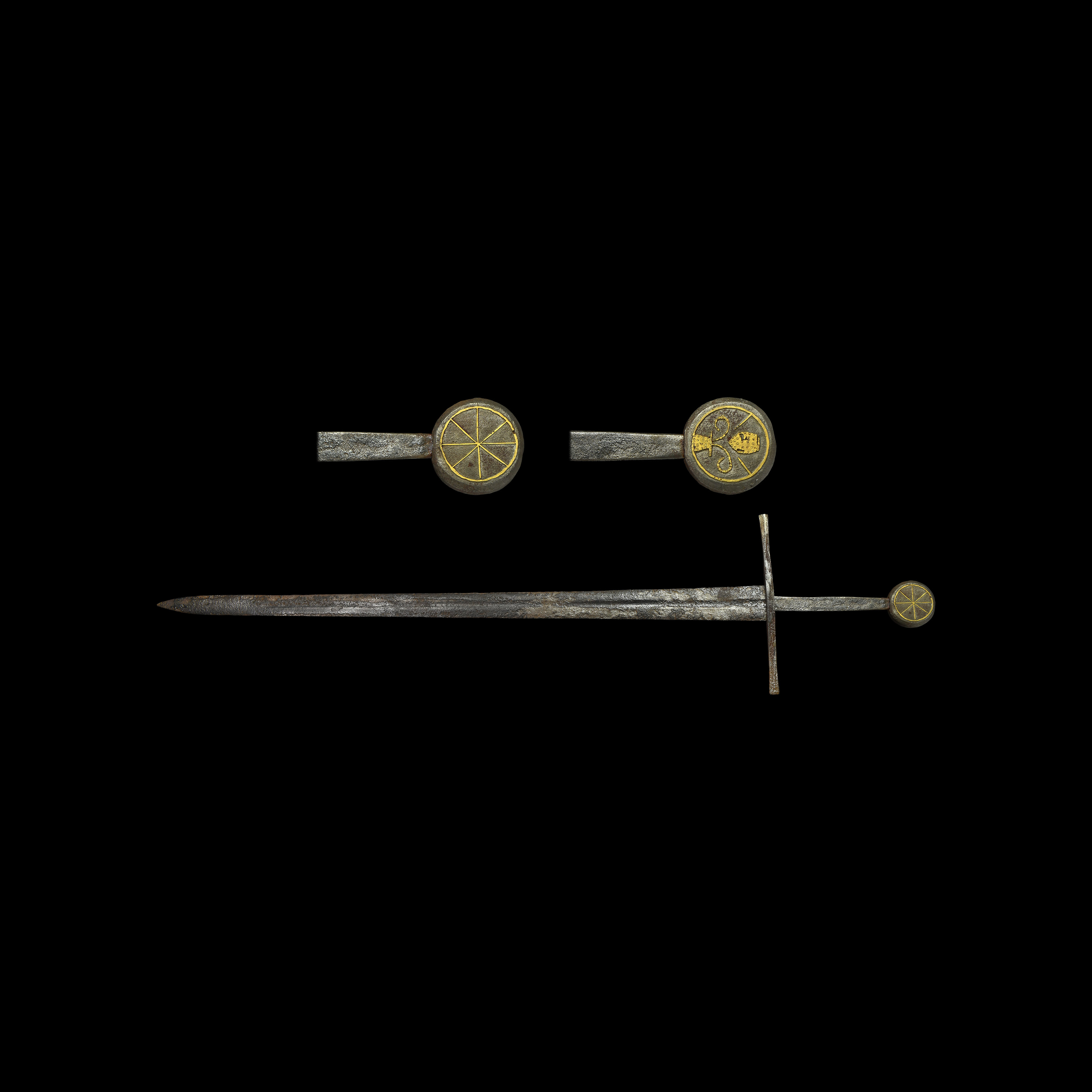 Medieval Double-Handed Sword with Inlaid Pommel