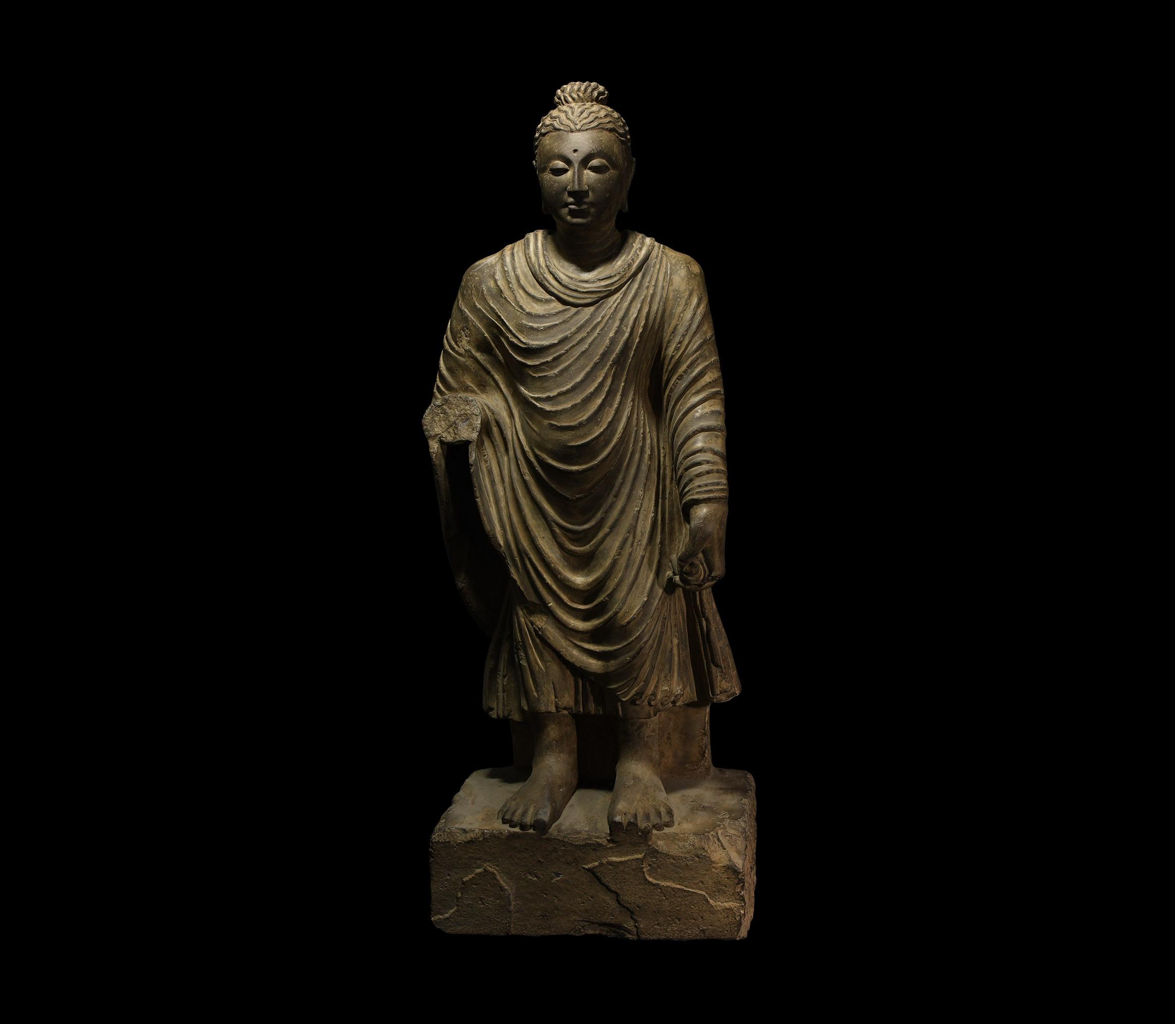 Large Gandharan Standing Buddha Statue