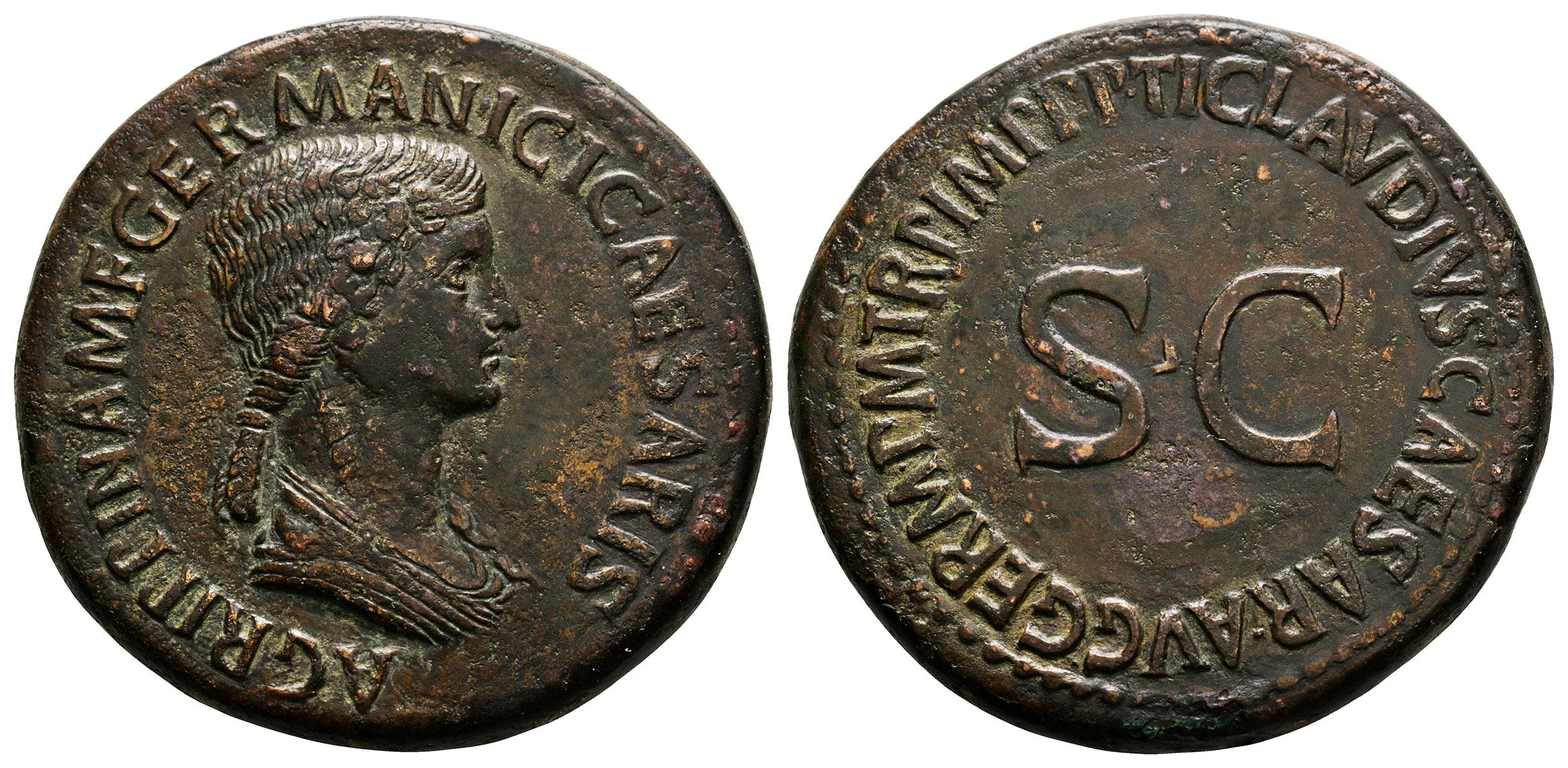 Ancient Roman Imperial Coins - Agrippina Senior (under Claudius) - S C Sestertius