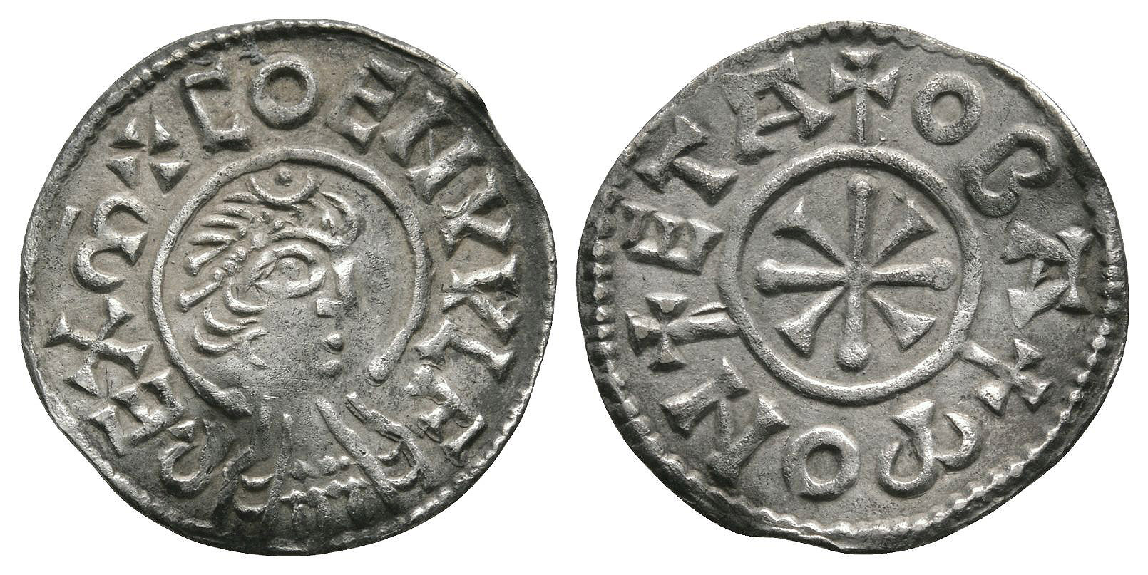 Anglo-Saxon Coins - Coenwulf - Canterbury / Oba - Cross and Wedges Penny
