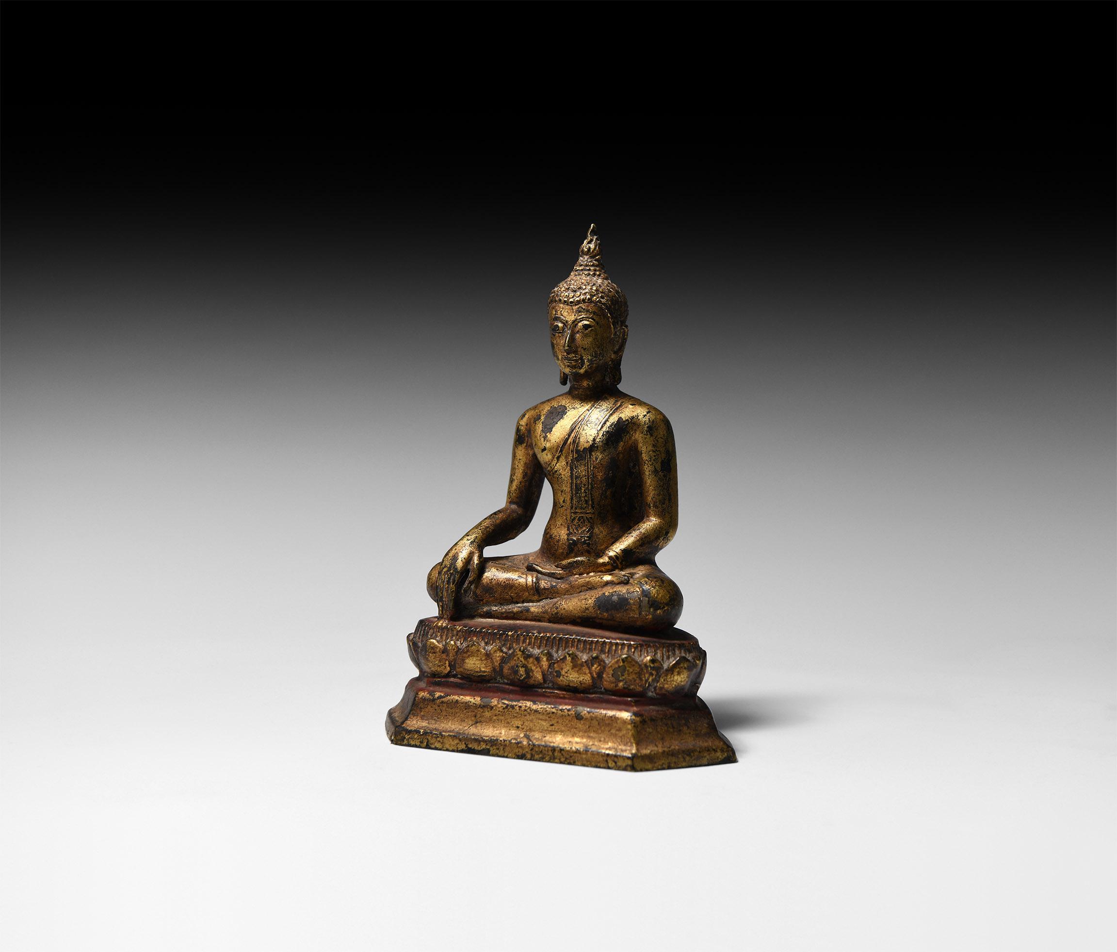 Thai Gilt Sitting Buddha Touching the Earth
