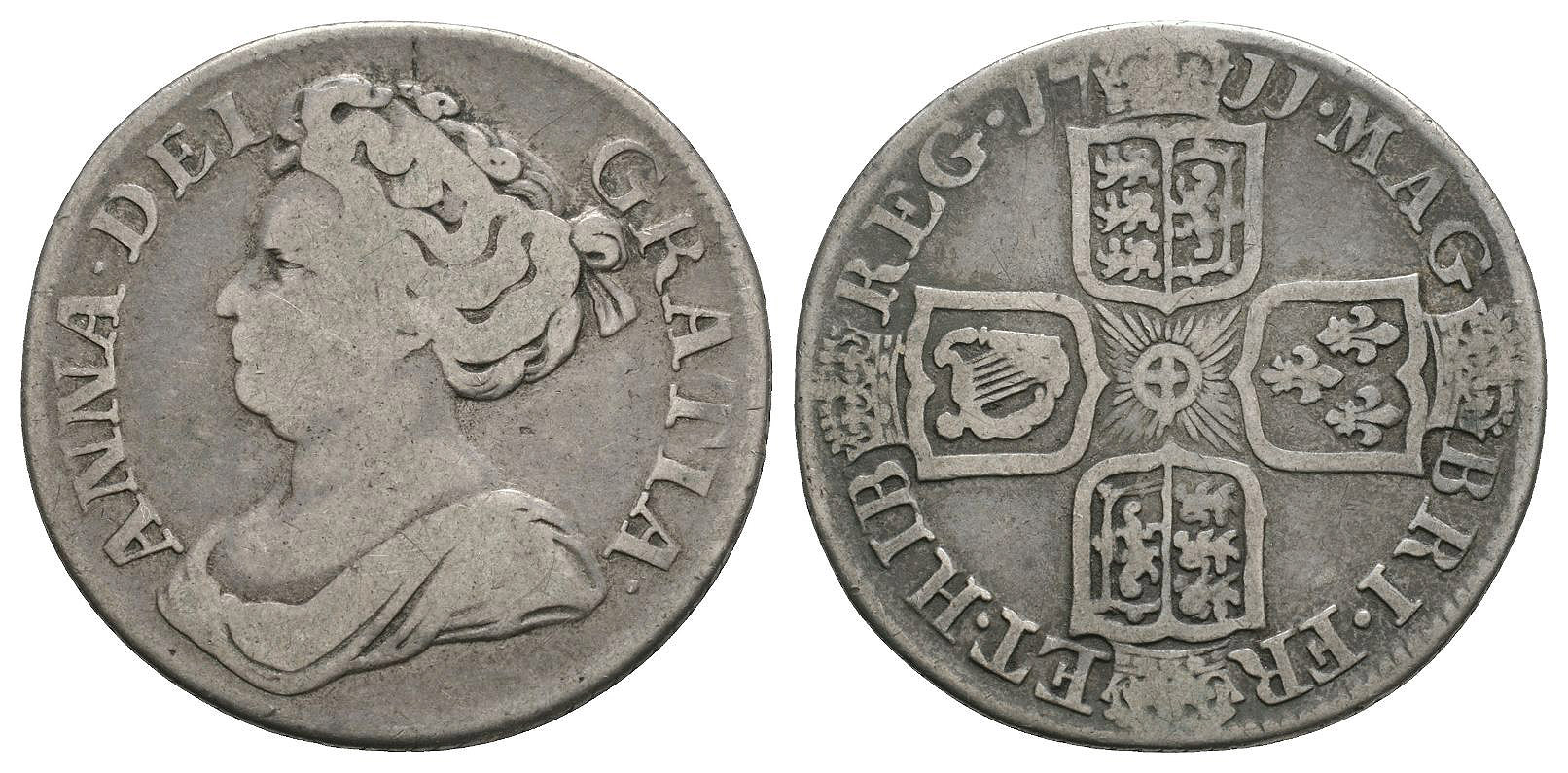 English Milled Coins Anne - 1711 - Shilling