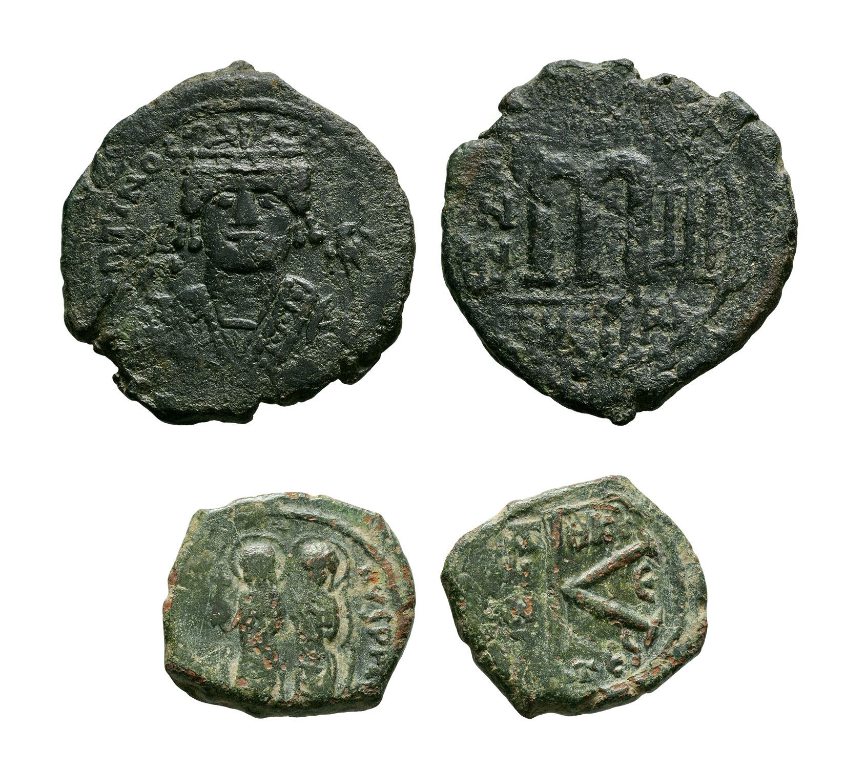 Byzantine Coins - Justin II and Maurice Tiberius - Large M Follis and Half Follis [2]