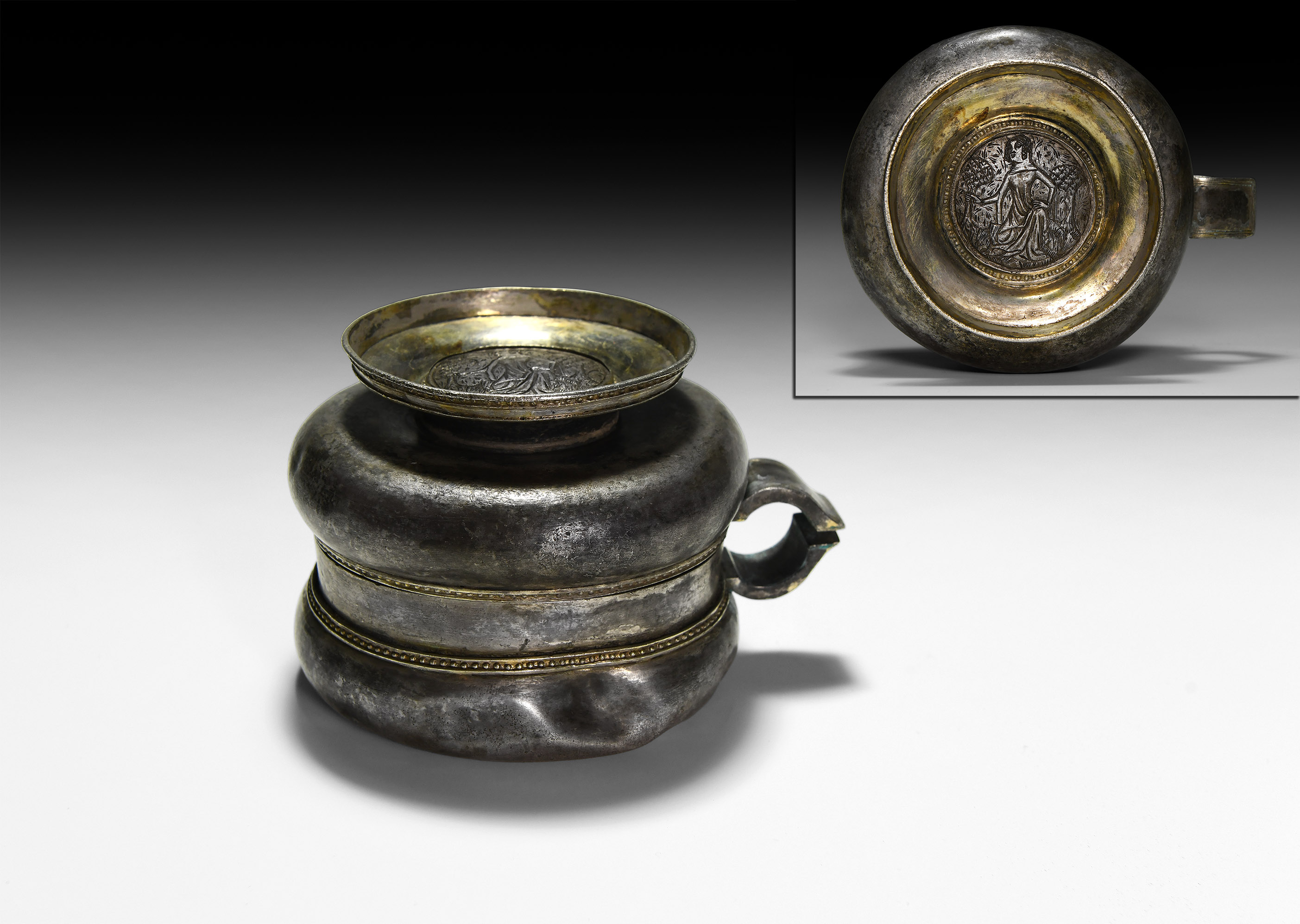 An Important Medieval Parcel-Gilt Loving Cup with Engraved Roundel