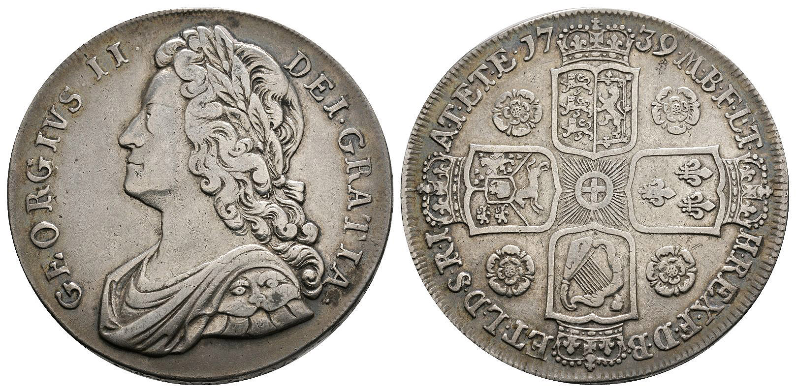 English Milled Coins - George II - 1739 - Crown