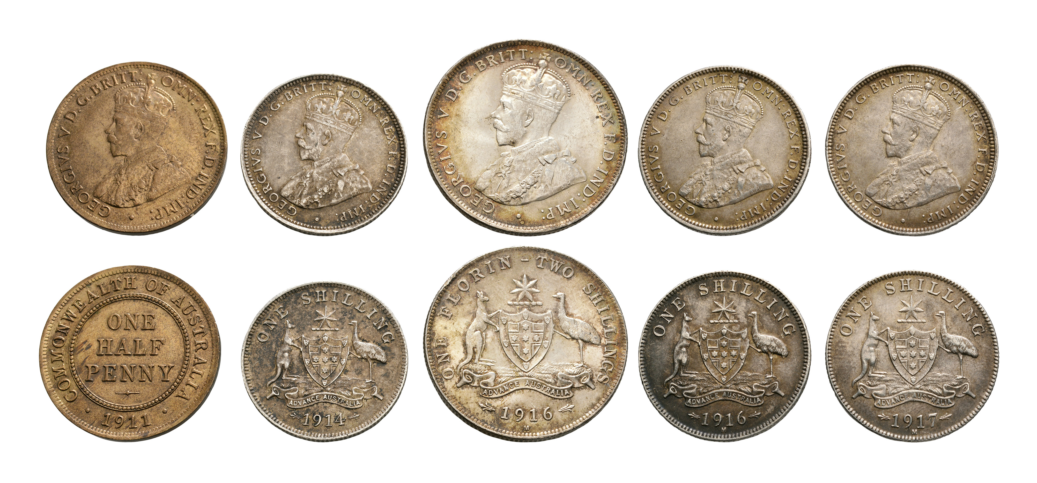 World Coins - Australia - 1911-1917 - Halfpenny, Shillings and Florin [5]