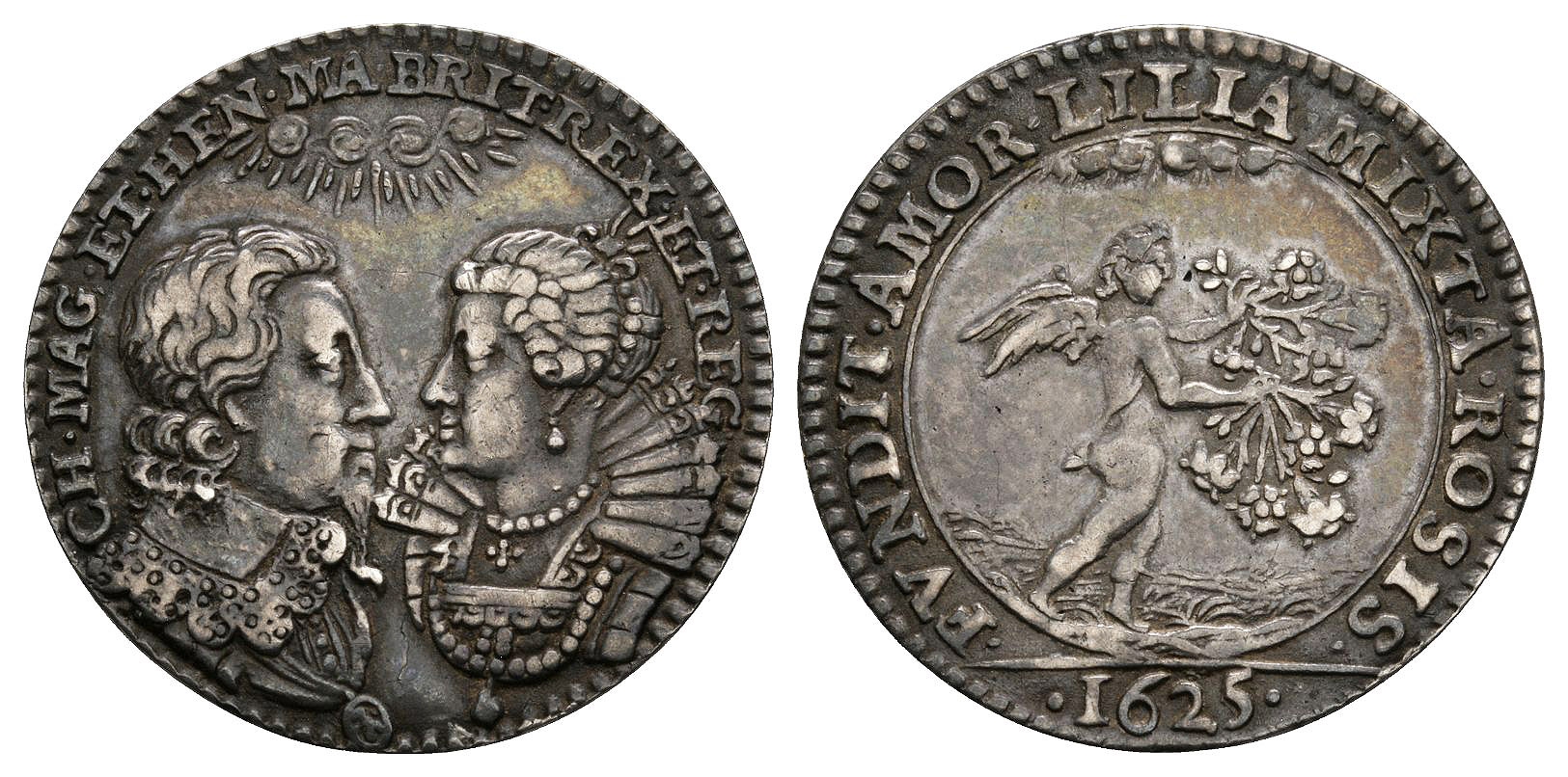 British Commemorative Medals - Charles I - 1625 - Silver Marriage Jeton