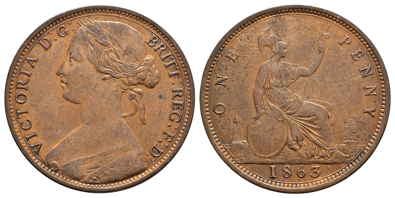 English Milled Coins - Victoria - 1865 - Bronze Penny