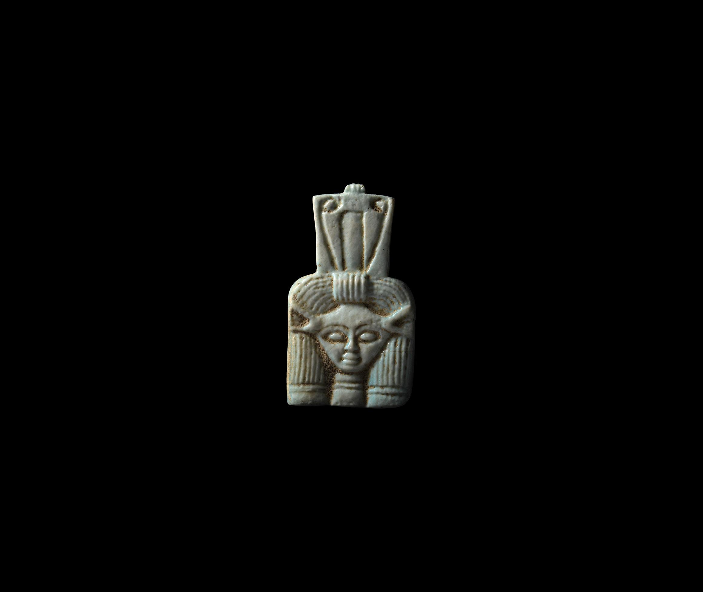 Large Egyptian Blue Glazed Hathor Amulet