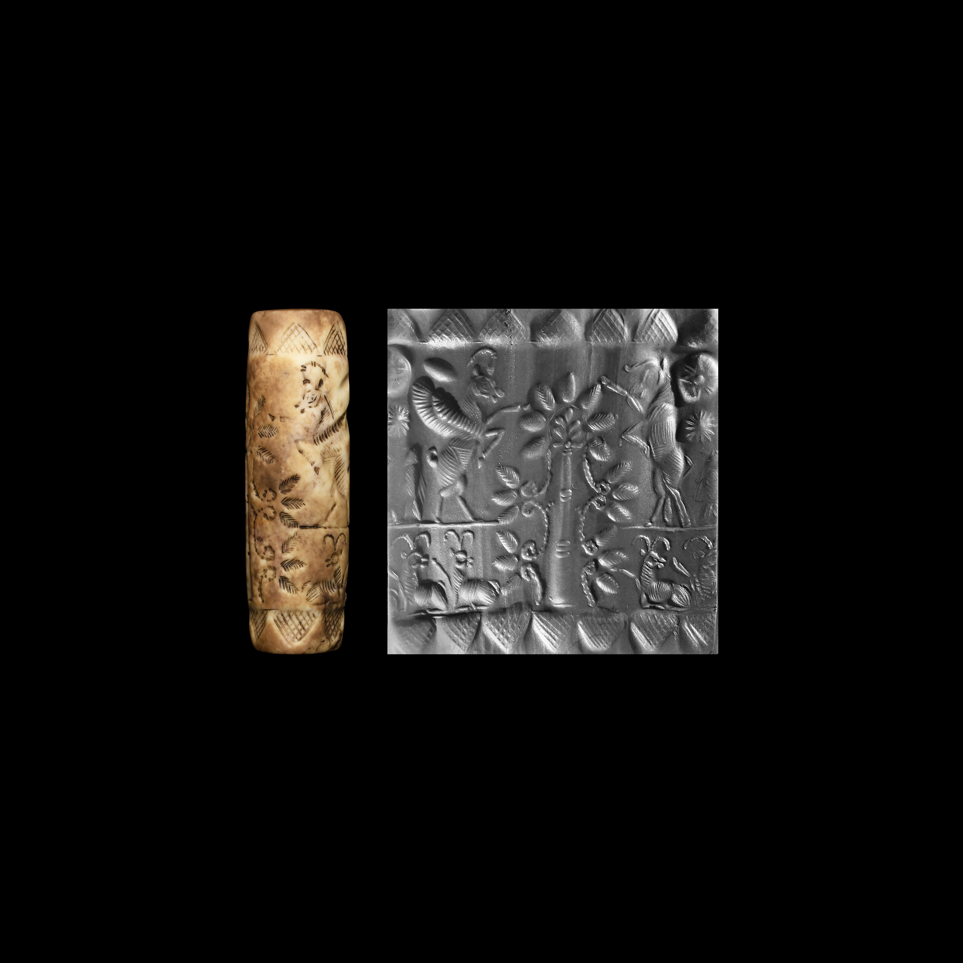 Western Asiatic Late Kassite Cylinder Seal with Stylised Tree and Winged Animals
