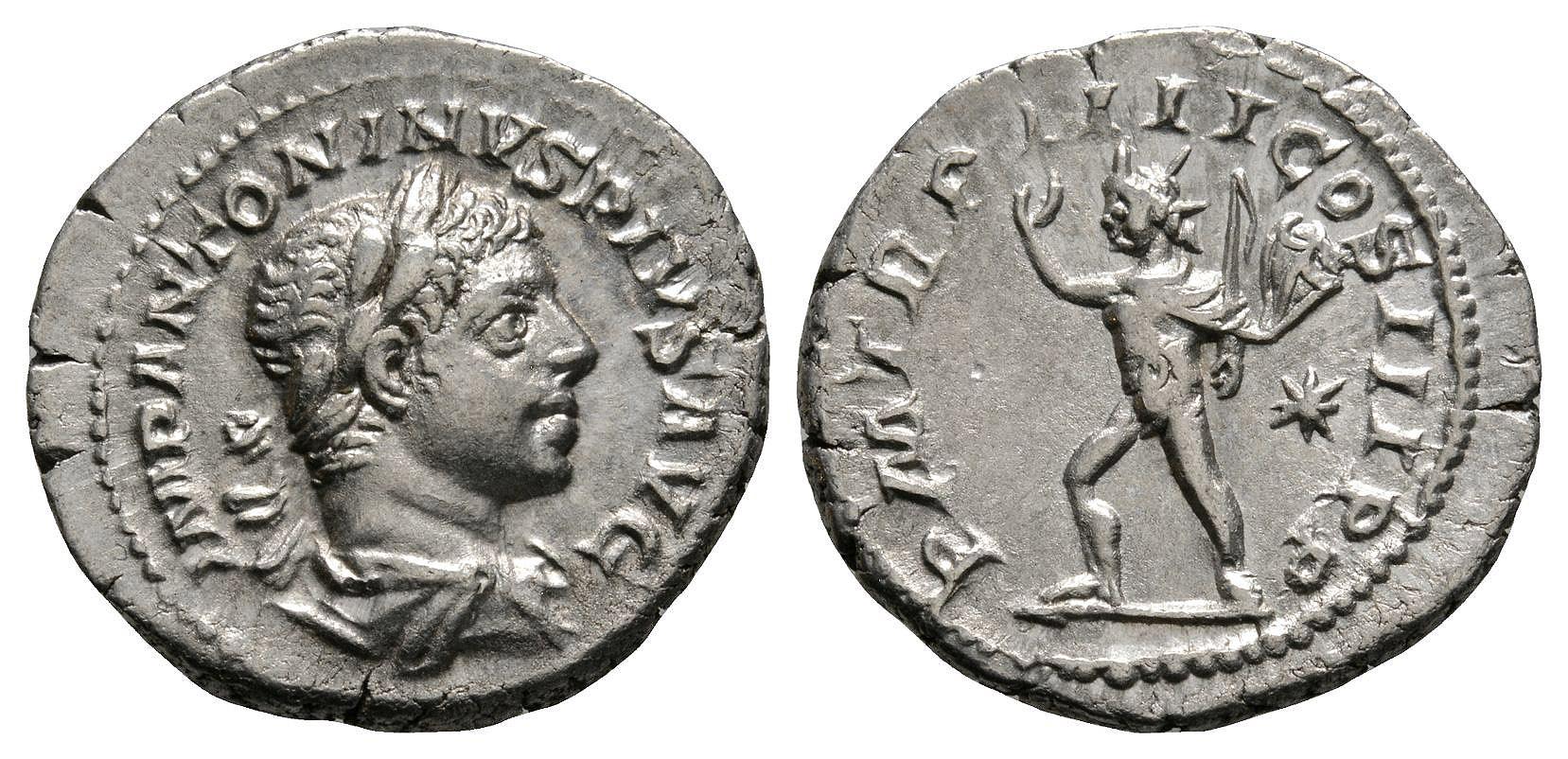 Roman Imperial Coins - Elagabalus - Sol Denarius
