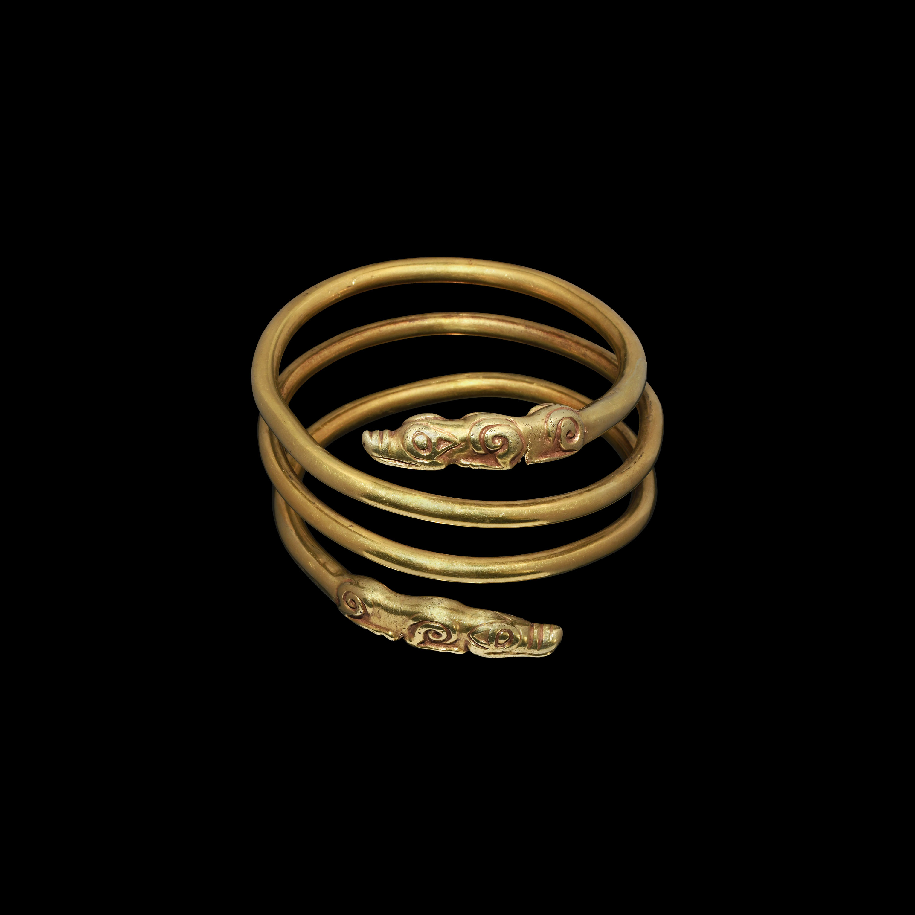 Scythian Gold Arm Ring with Wolf Terminals