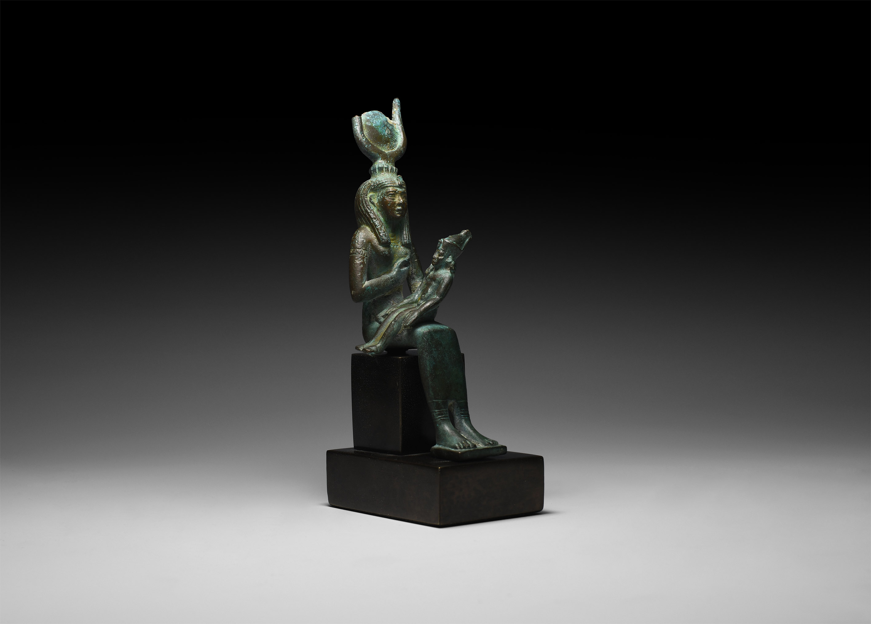 Egyptian Seated Isis and Horus Statuette