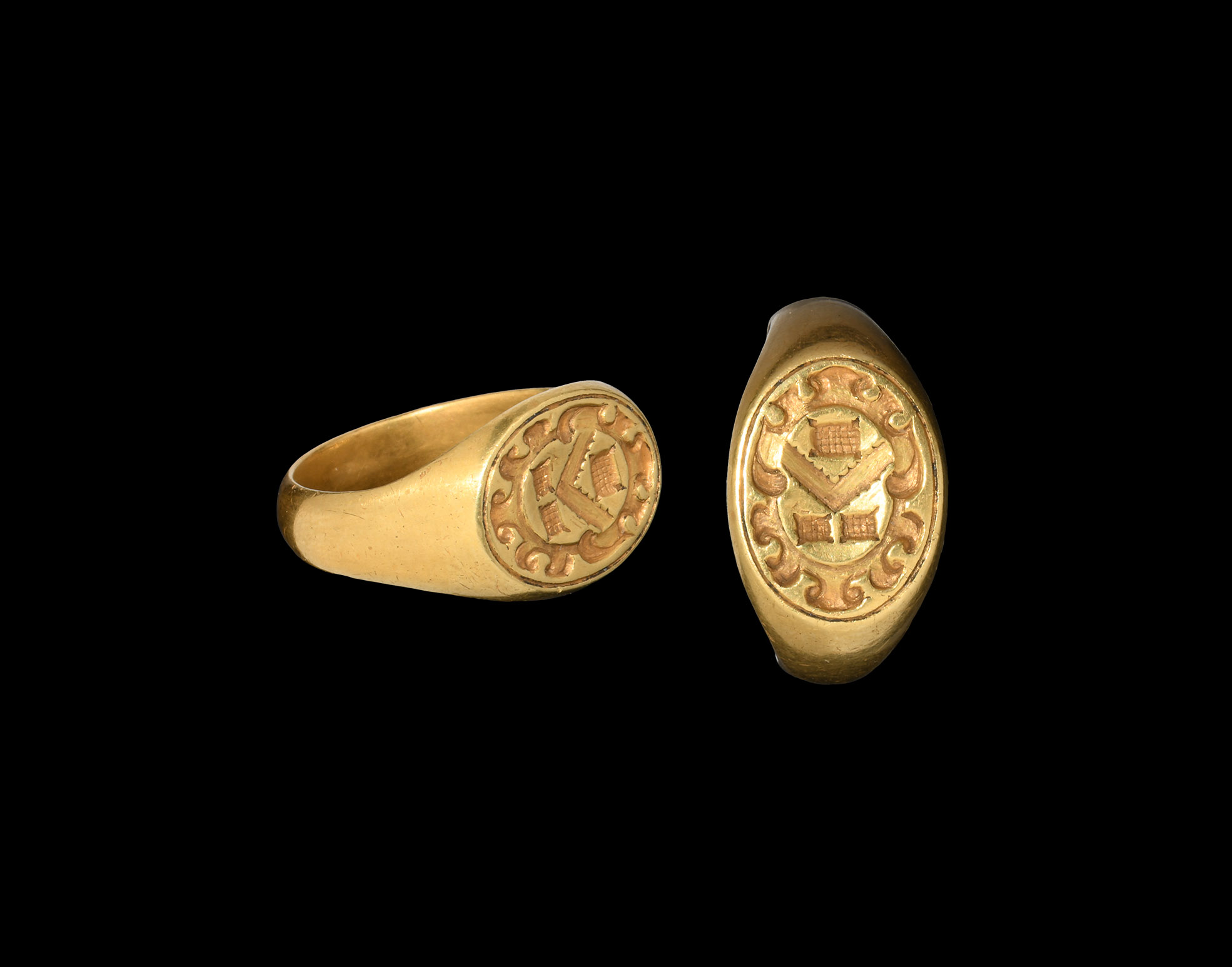 Medieval Woolsey Family Gold Heraldic Seal Ring