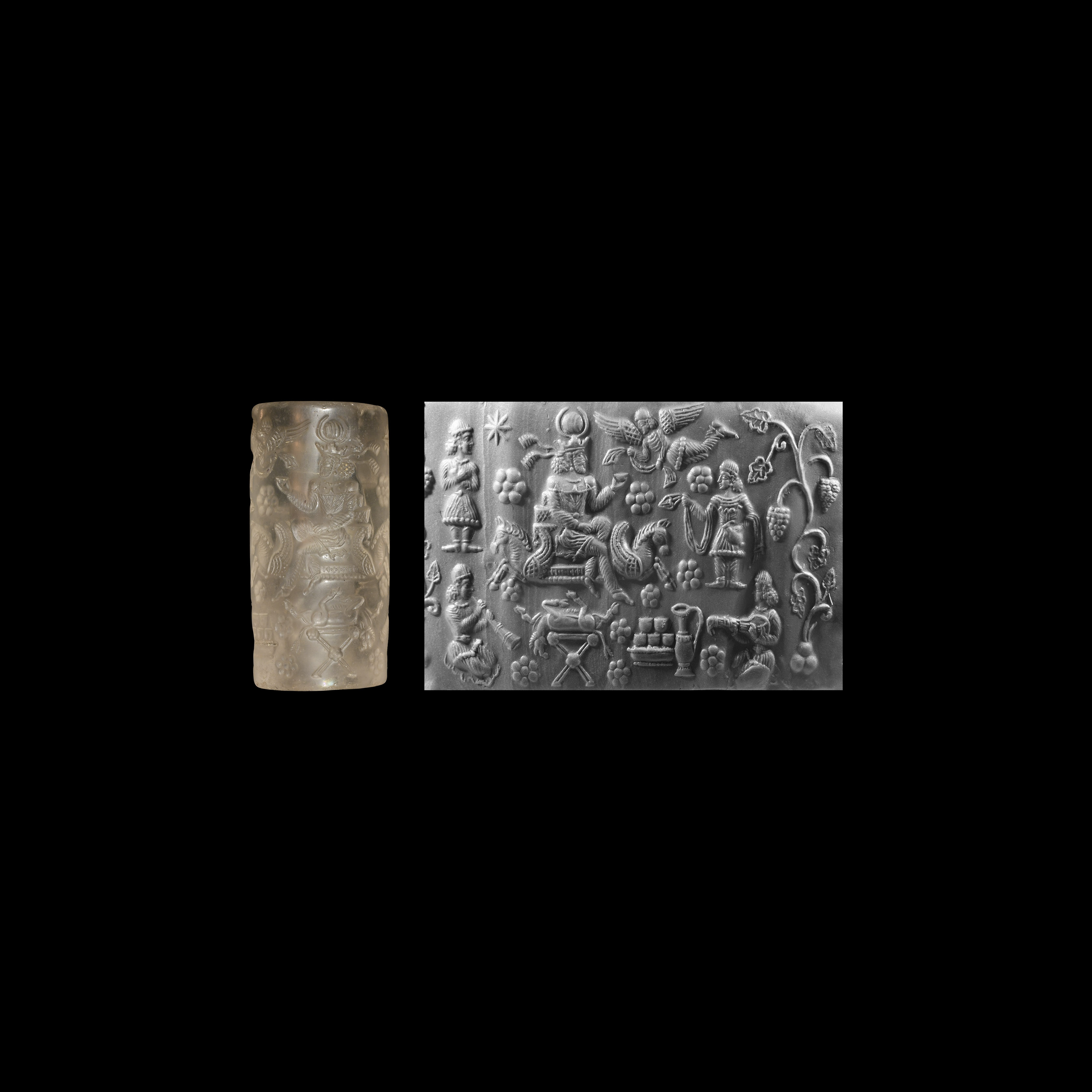 Very Large Western Asiatic Sassanian Cylinder Seal with King at a Calendar Festival with Banquet