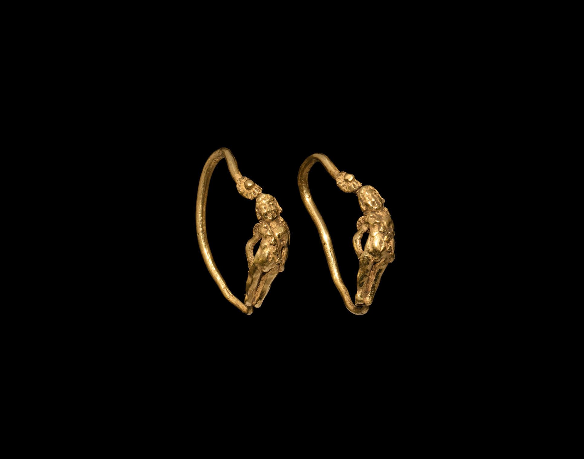 Greek Gold Eros Earring Pair