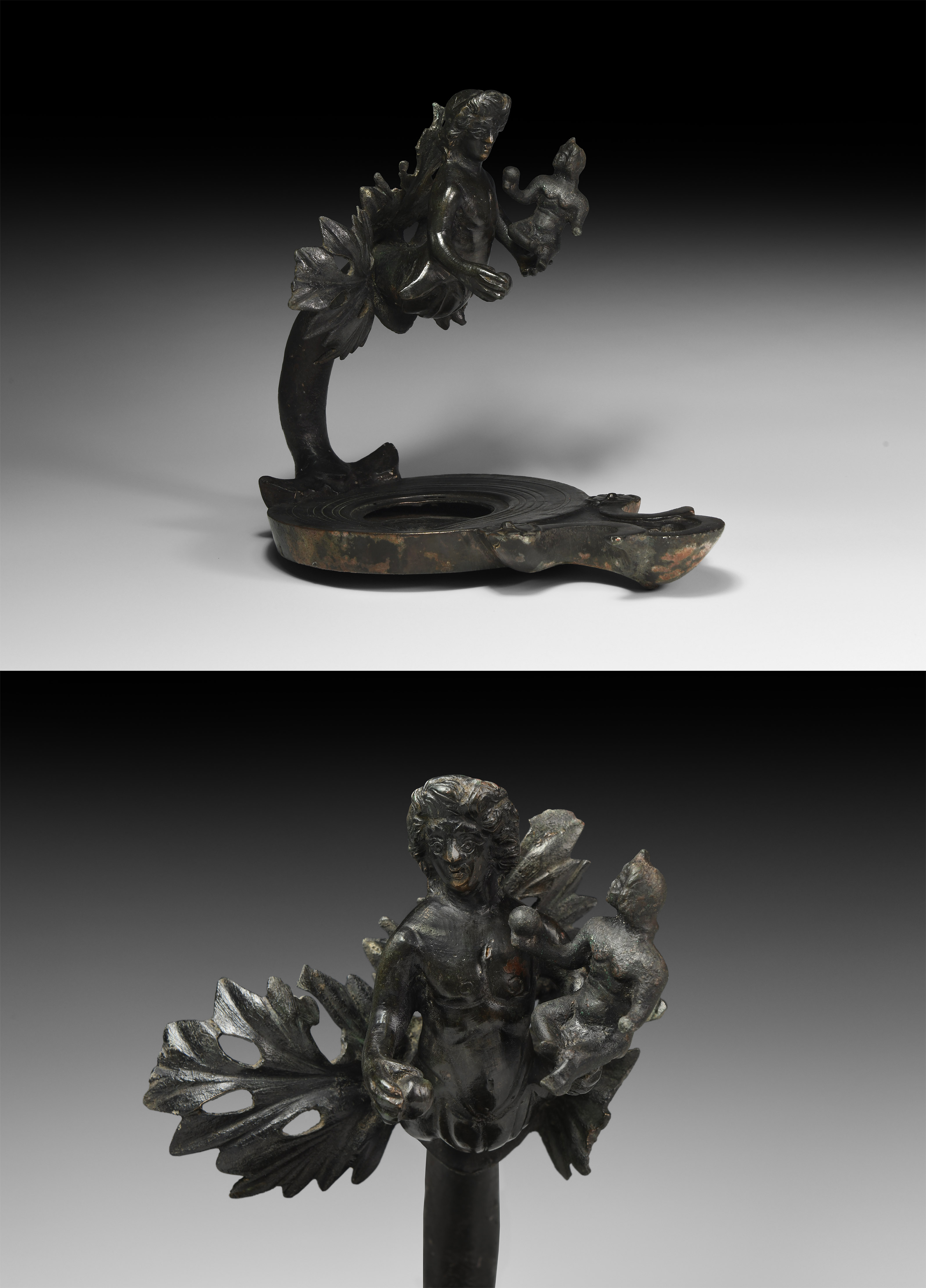 Roman Lamp with Dionysus Holding Eros