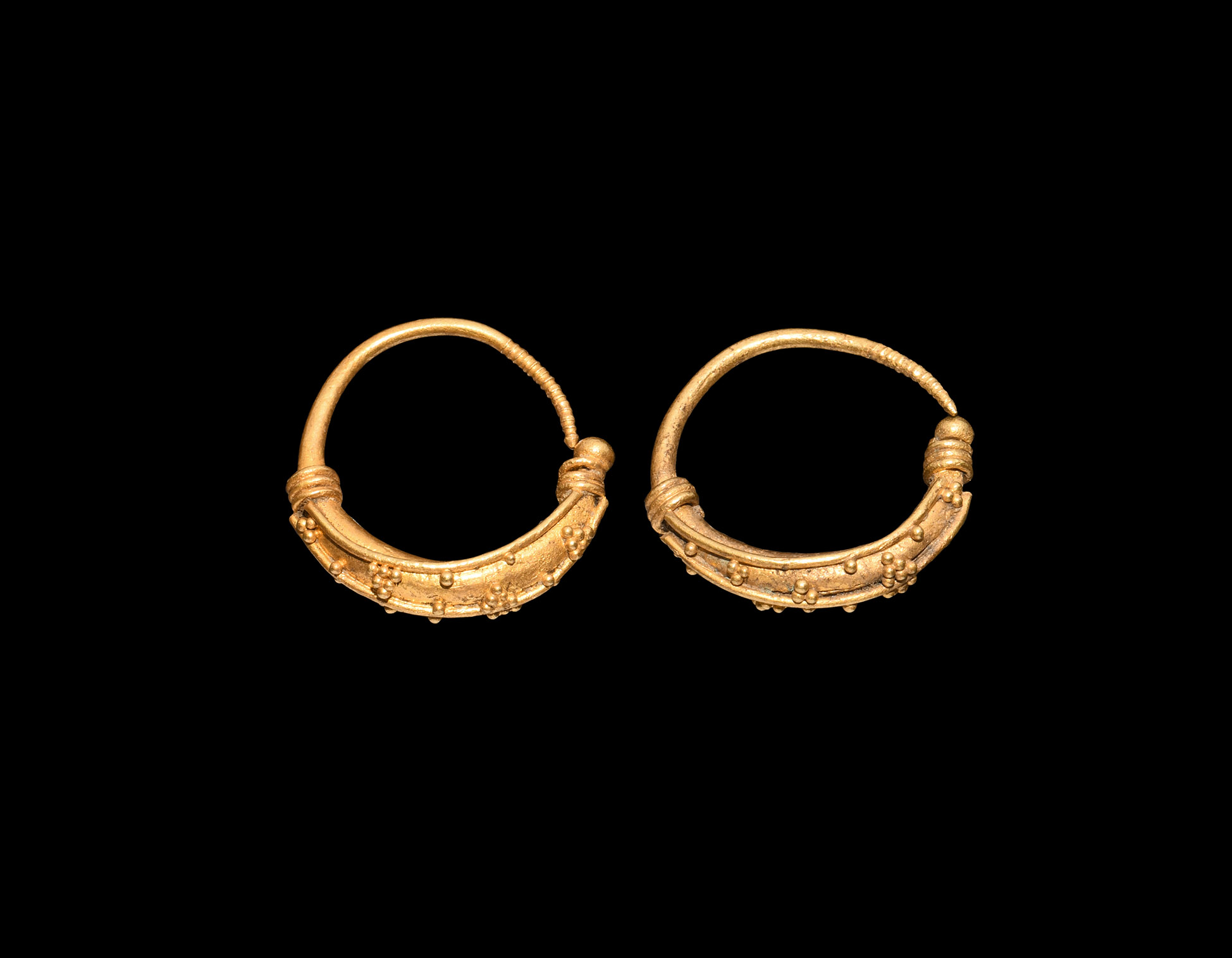 Greek Gold Earring Pair