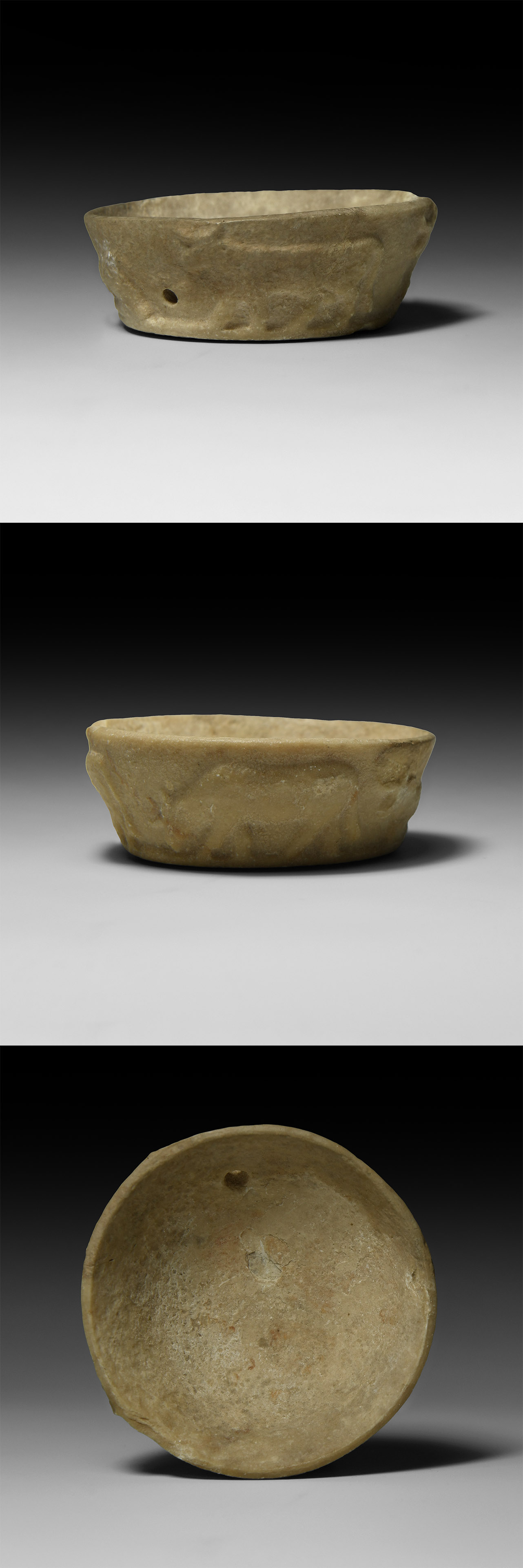 Western Asiatic Sumerian Alabaster Bowl with Bulls