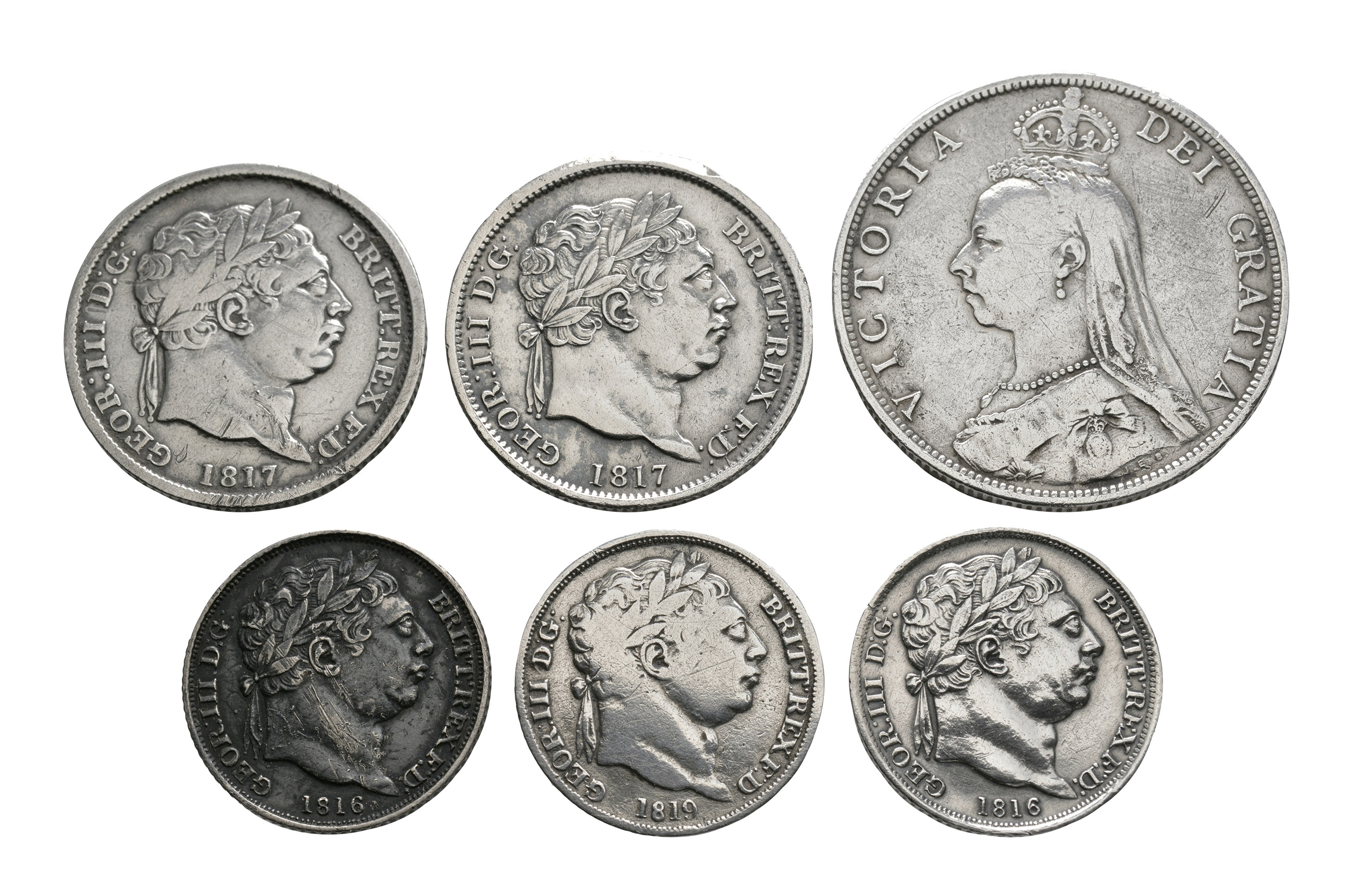 English Milled Coins - George III to Victoria - Florin, Shillings and Sixpences [6]