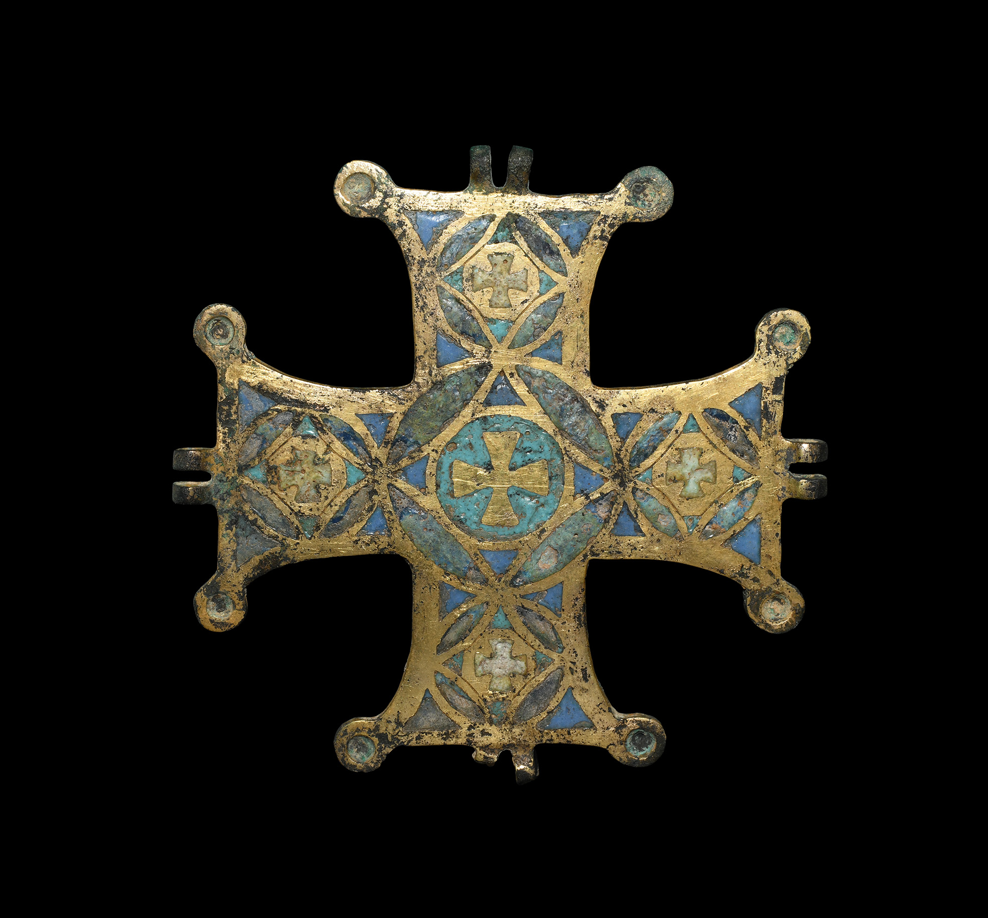 Medieval Limoges Gilt Enamelled Cross Pendant