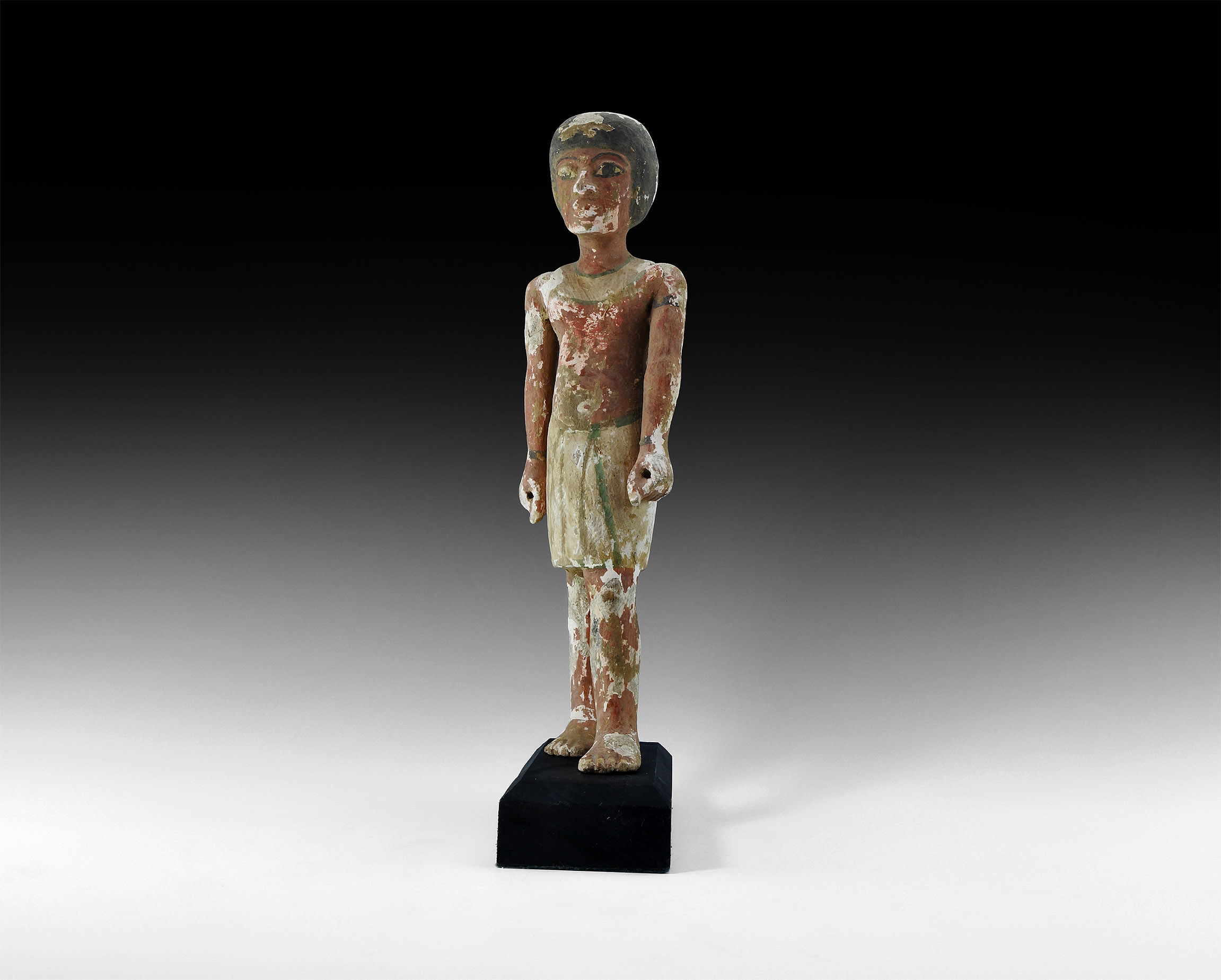 Large Egyptian Striding Polychrome Wooden Figure